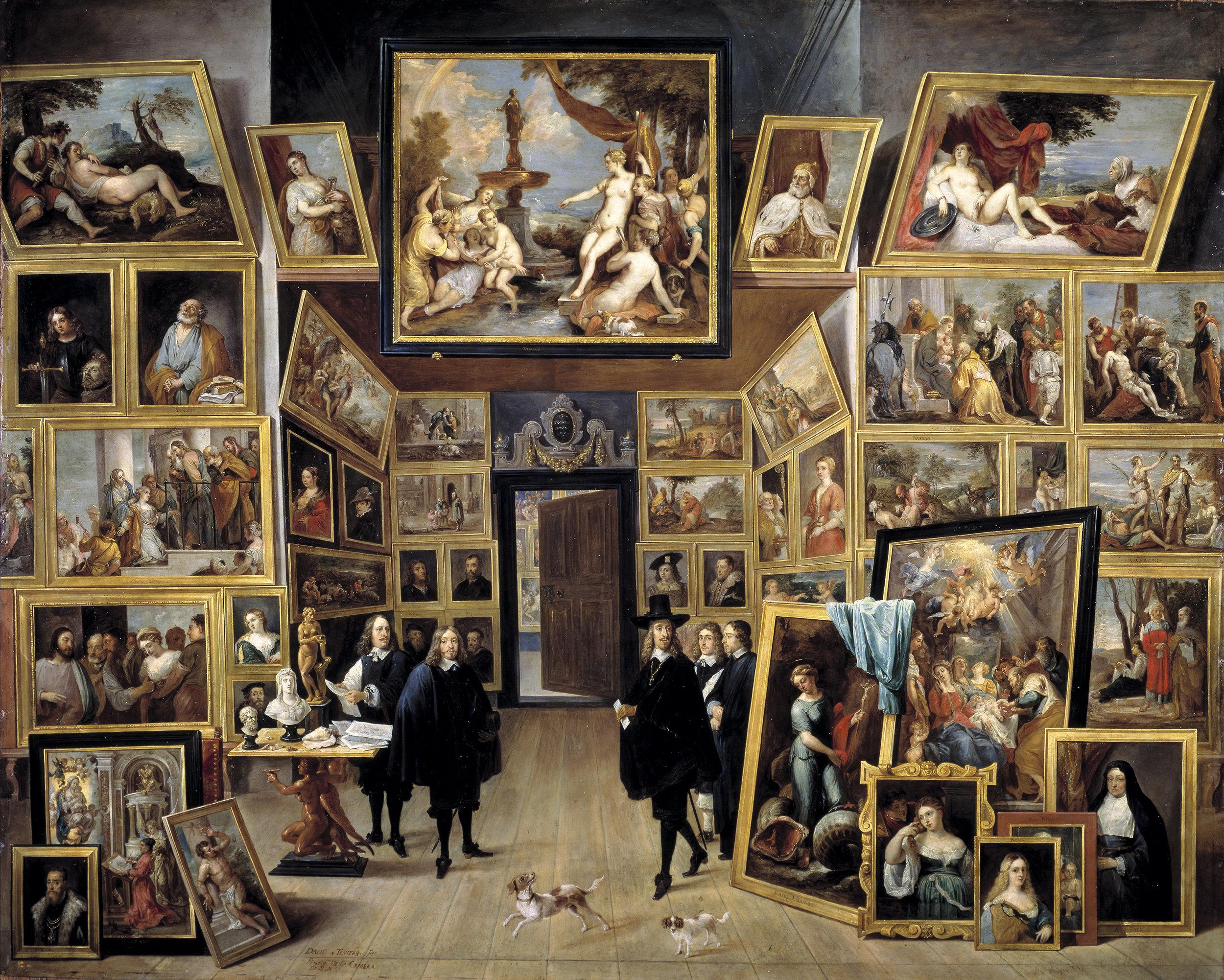 O arquiduque Leopoldo Guilherme da Áustria na sua galeria. Pintura de David Teniers, 1650.