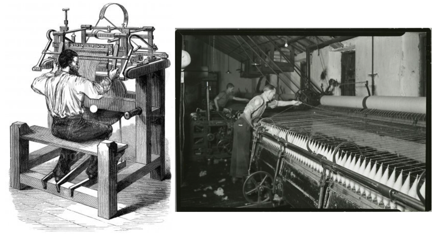 Left:  Stocking frame knitting machine (1589) by  profimedia.si on Pinterest . /  Right:  Self-acting mule (around 1900) by  New York Public Libraries .
