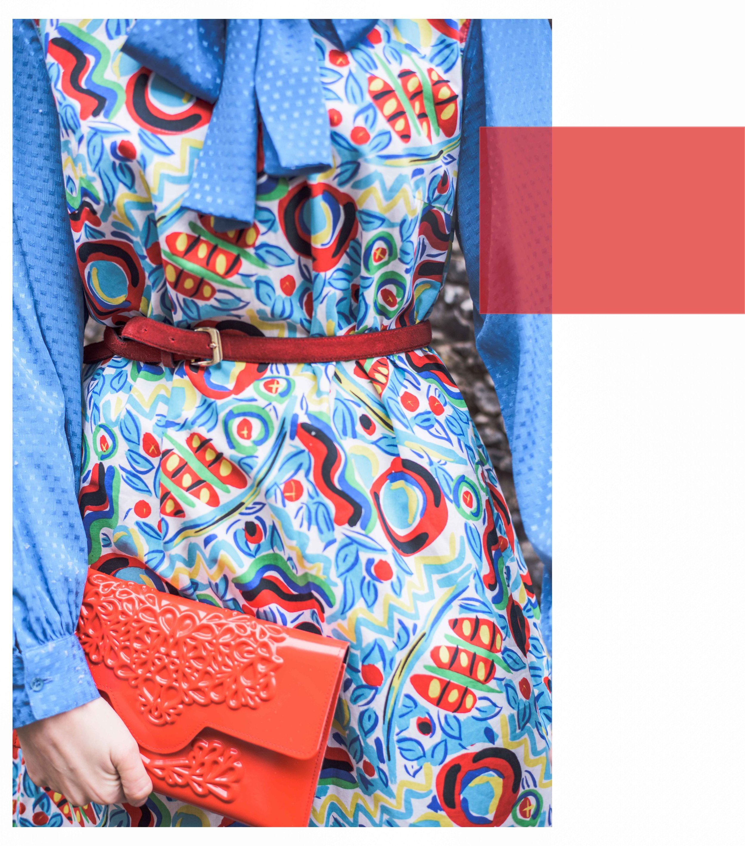 A styled 1980s vintage outfit with a Vegan Medusa Studio clutch bag. Photo by  Marion Botella.
