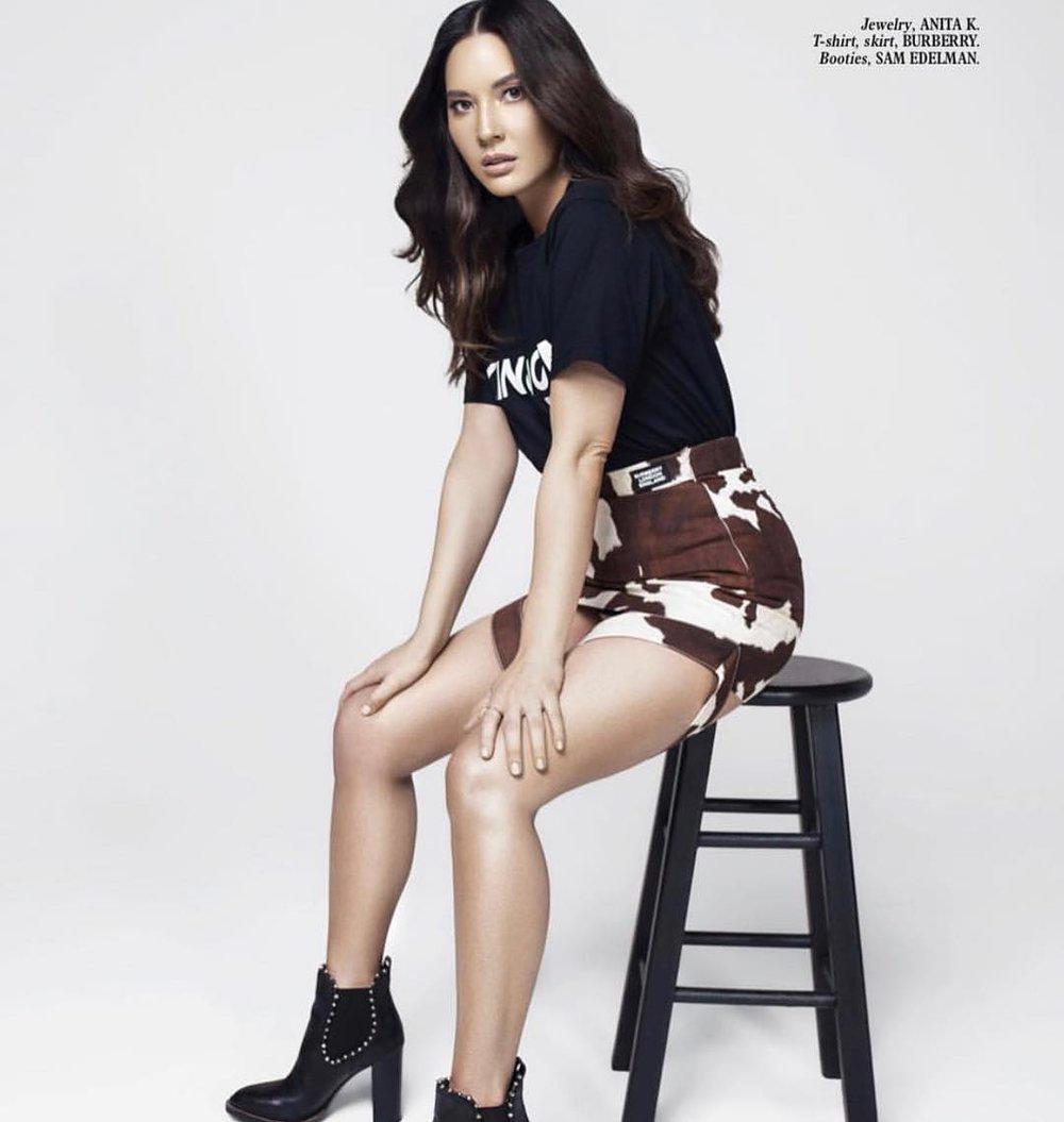 Olivia-Munn-Burberr-Cow-Print-Skirt