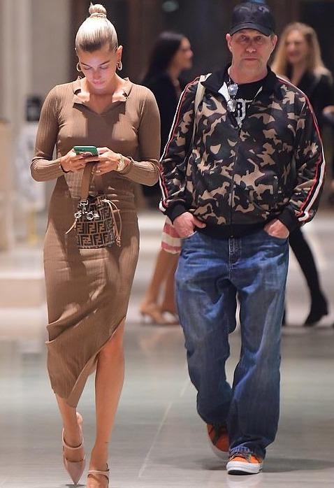 hailey-bieber-new-york-city-toteme-brown-dress