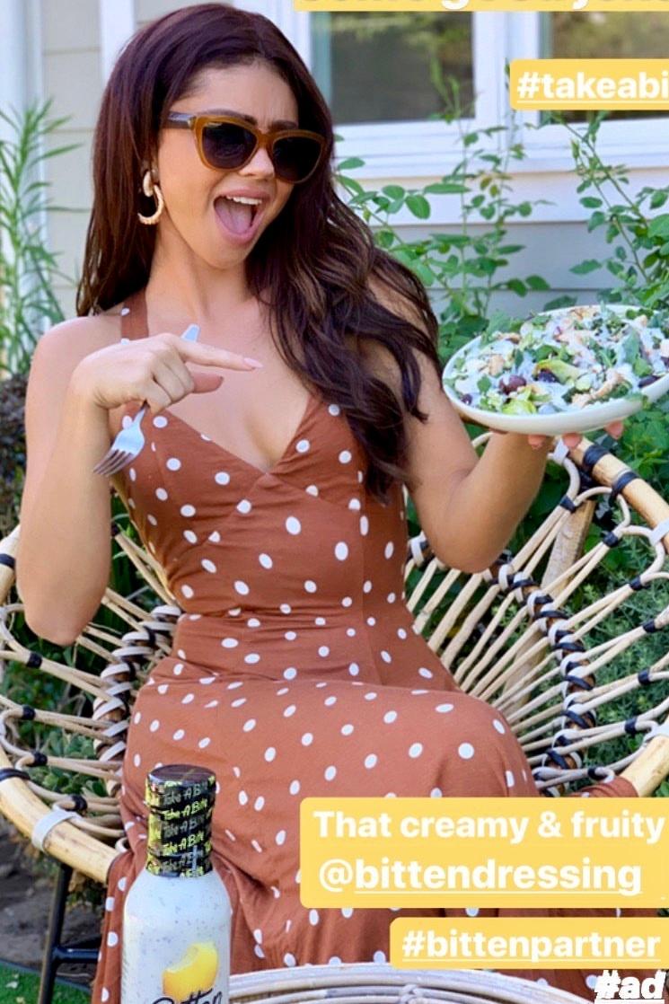 sarah-hyland-house-of-harlow-dot-print-dress-instagram-story.jpg