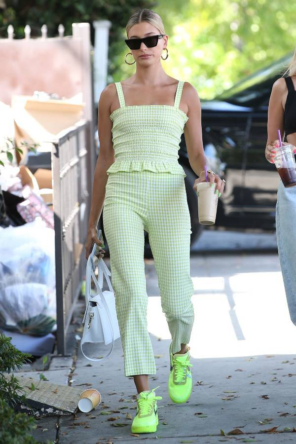 Hailey Beiber S Neon Green Outfit In Los Angeles