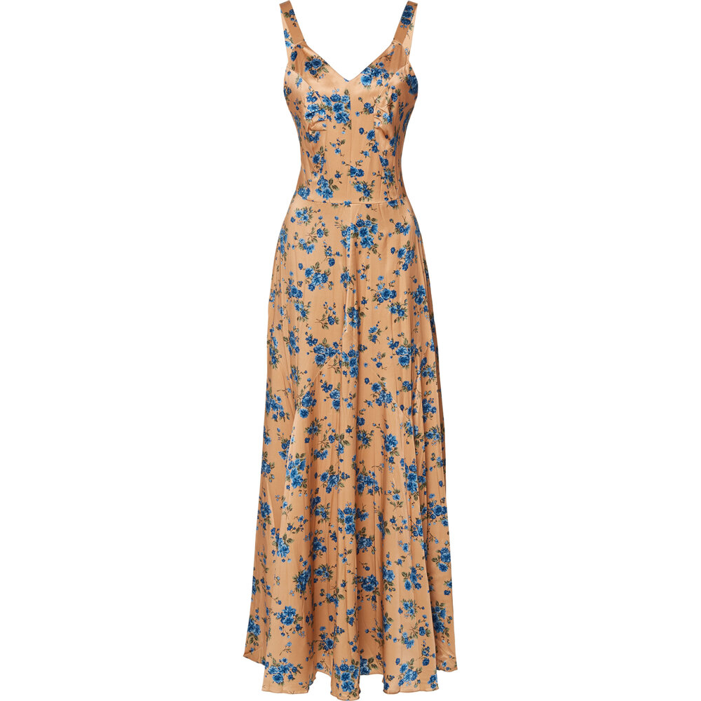 Michael Kors Collection Pleated Floral-Print Silk Dress