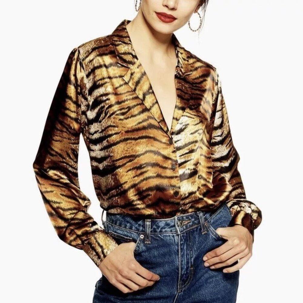 Topshop - Tiger Print Satin Shirt