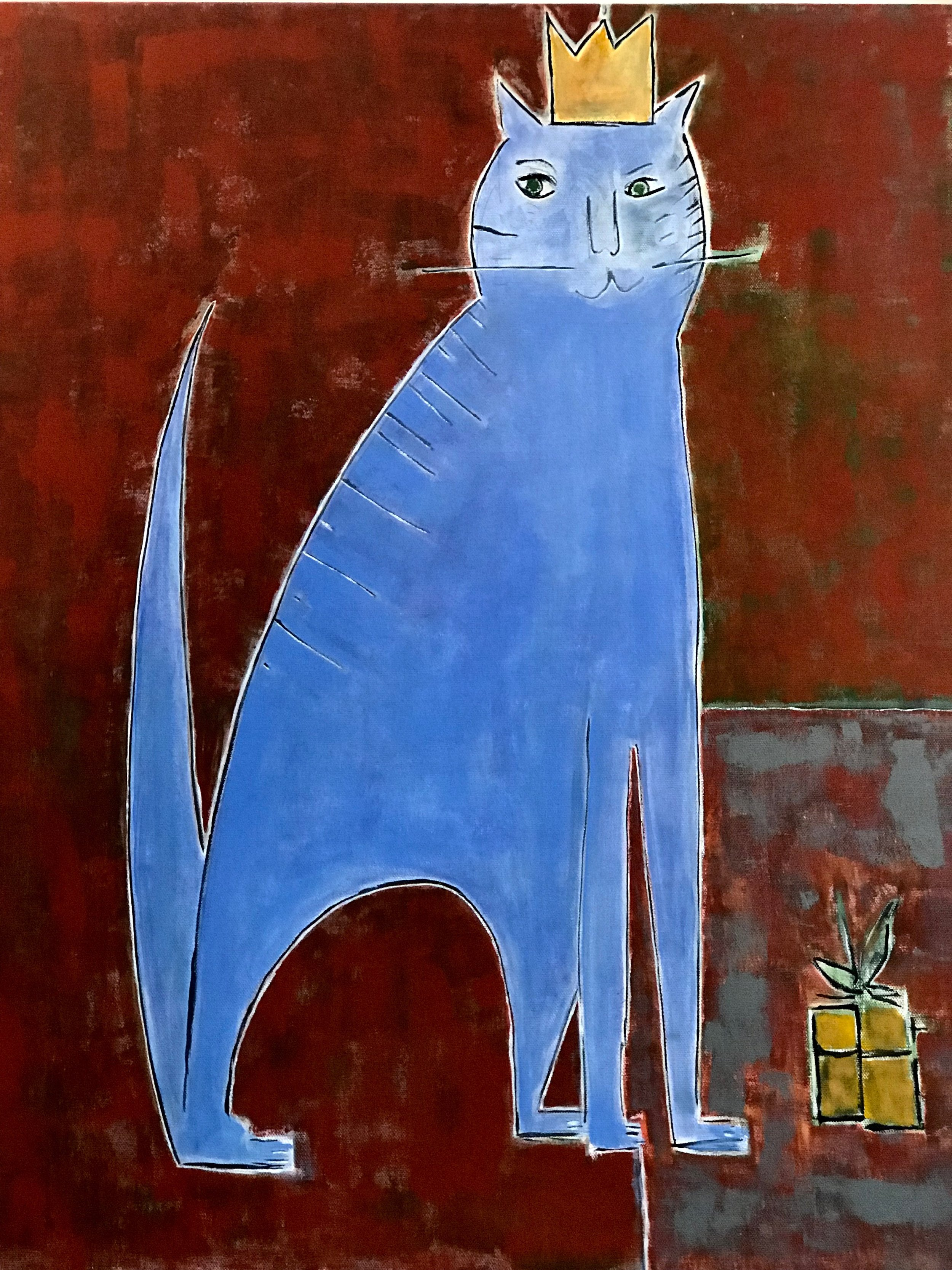 Cat Awaits Her Present, by Kate Razo