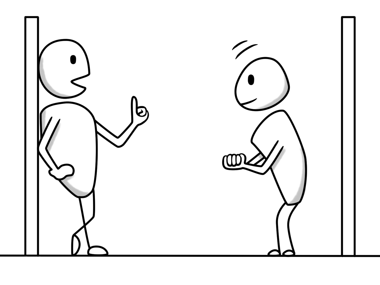 Does the left individual give valuable advice, which the right individual accepts gratefully? Or is the right individual annoyed that the left individual imposes rules, but does not show the annoyance? Or is the left individual secretly frustrated that the right individual is still dependent and needs guidance? The syntopic perspective assumes that the answer to these questions depends on the motives of the viewer.