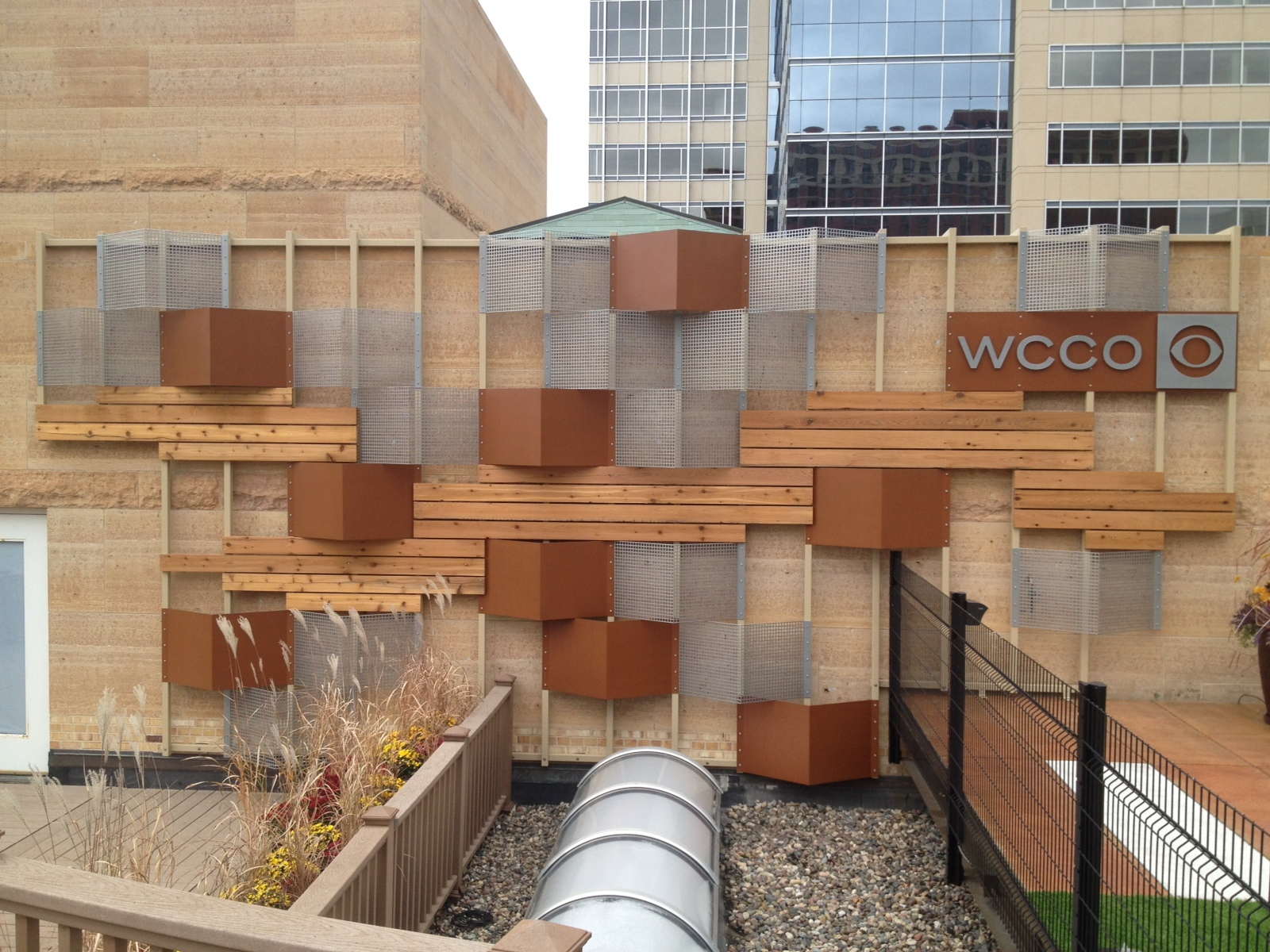 Custom wall sculpture for roof top deck of WCCO downtown Minneapolis.