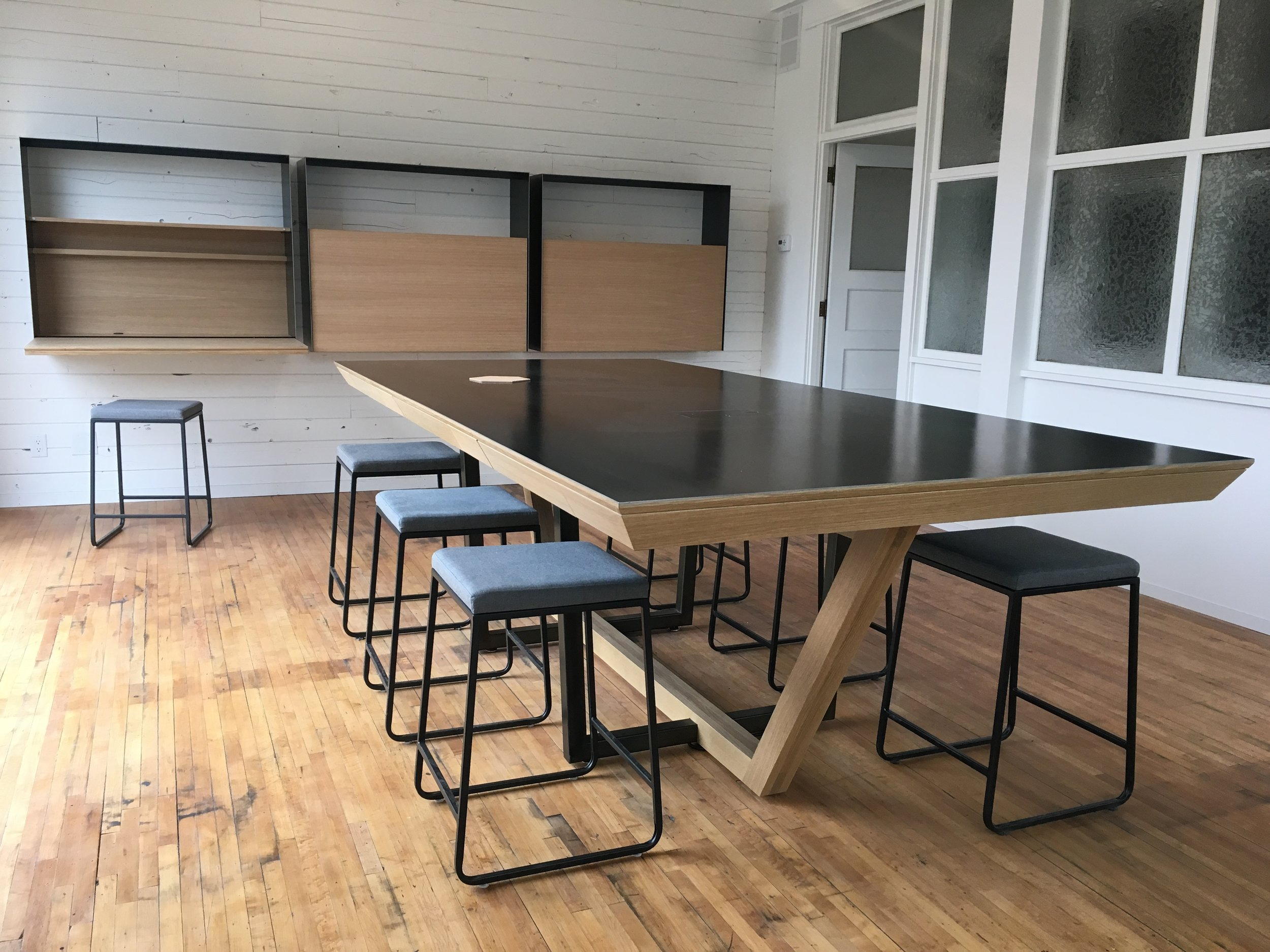 Collaboration with Strand Design in Minneapolis for custom conference table and wall desks.
