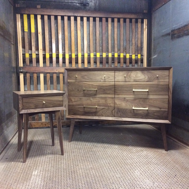 Custom walnut dresser and nightstand combo.