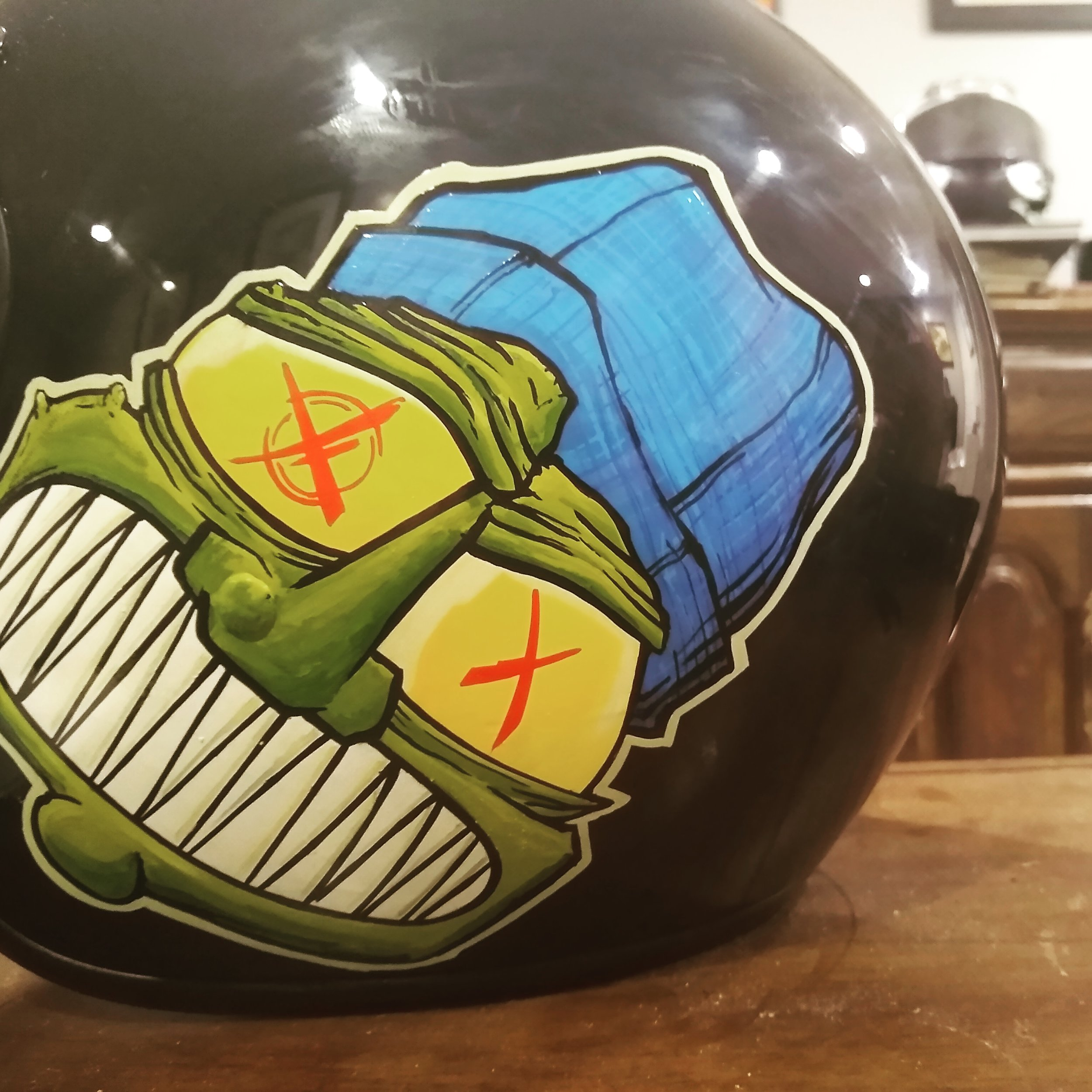 Hand-painted Helmet Raffles & Shows - This awesome lid was designed and donated for a Wild Rabbit Raffle on May 11. He has another helmet art piece showing at the upcoming Upcycle Helmet Art Show June 23. Get your own one of a kind helmet by just reaching out to @createnotduplicate!