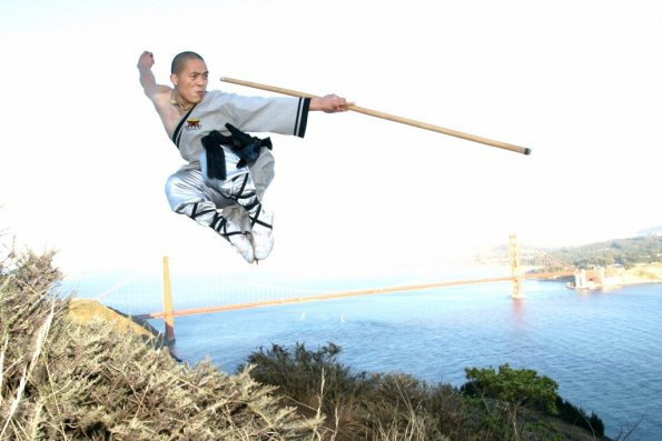 Master Zhou with High Fly Staff at Gold Gate Bridge, San Francisco