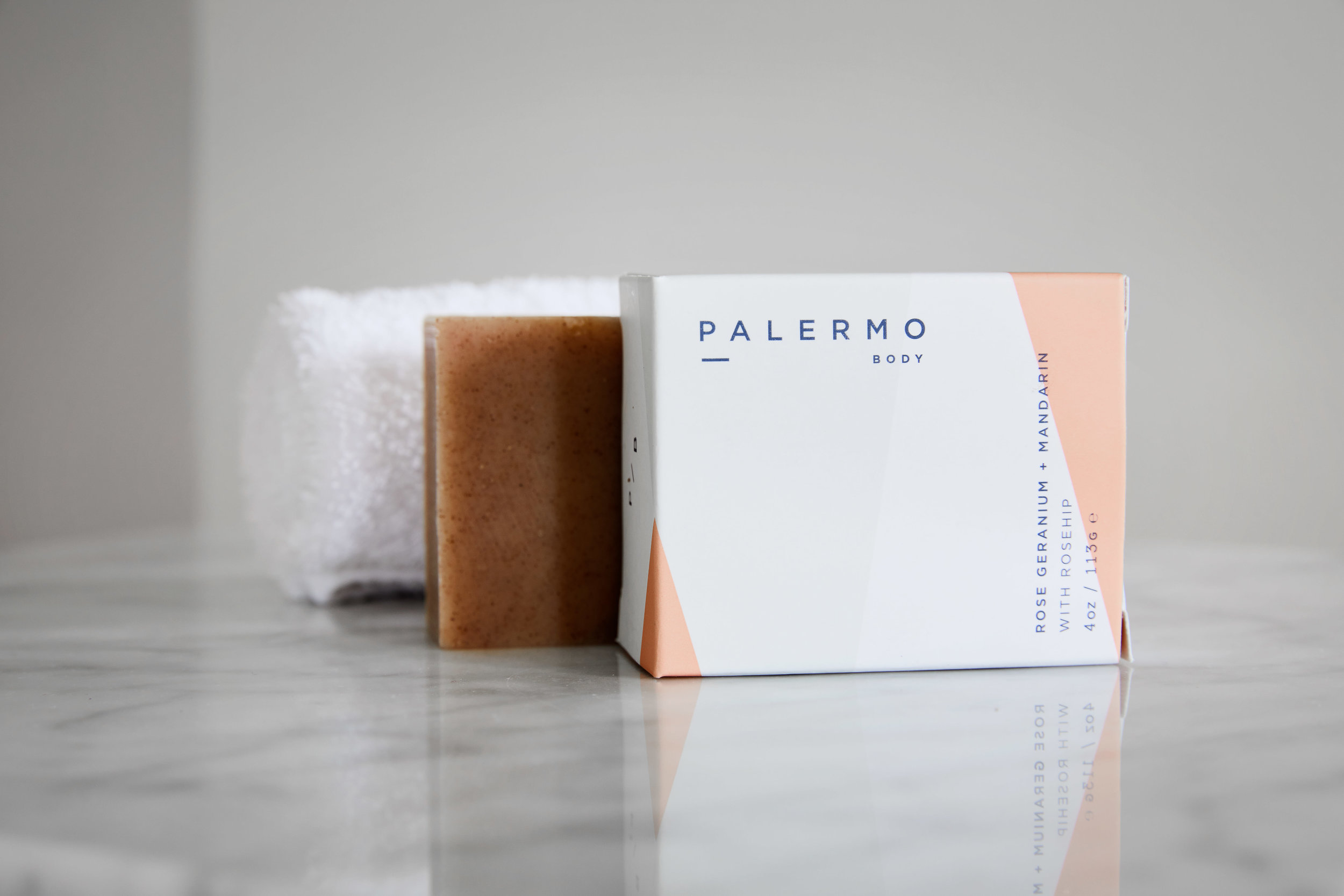 Pink Palermo soap with washcloth