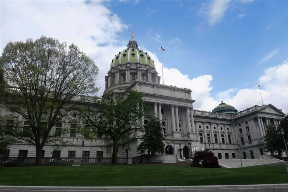 The Capital building, Harrisburg Pennsylvania. The current capital building was constructed in 1906, and was the tallest building from Phildelphiaa to Pittsburgh for 80 years.