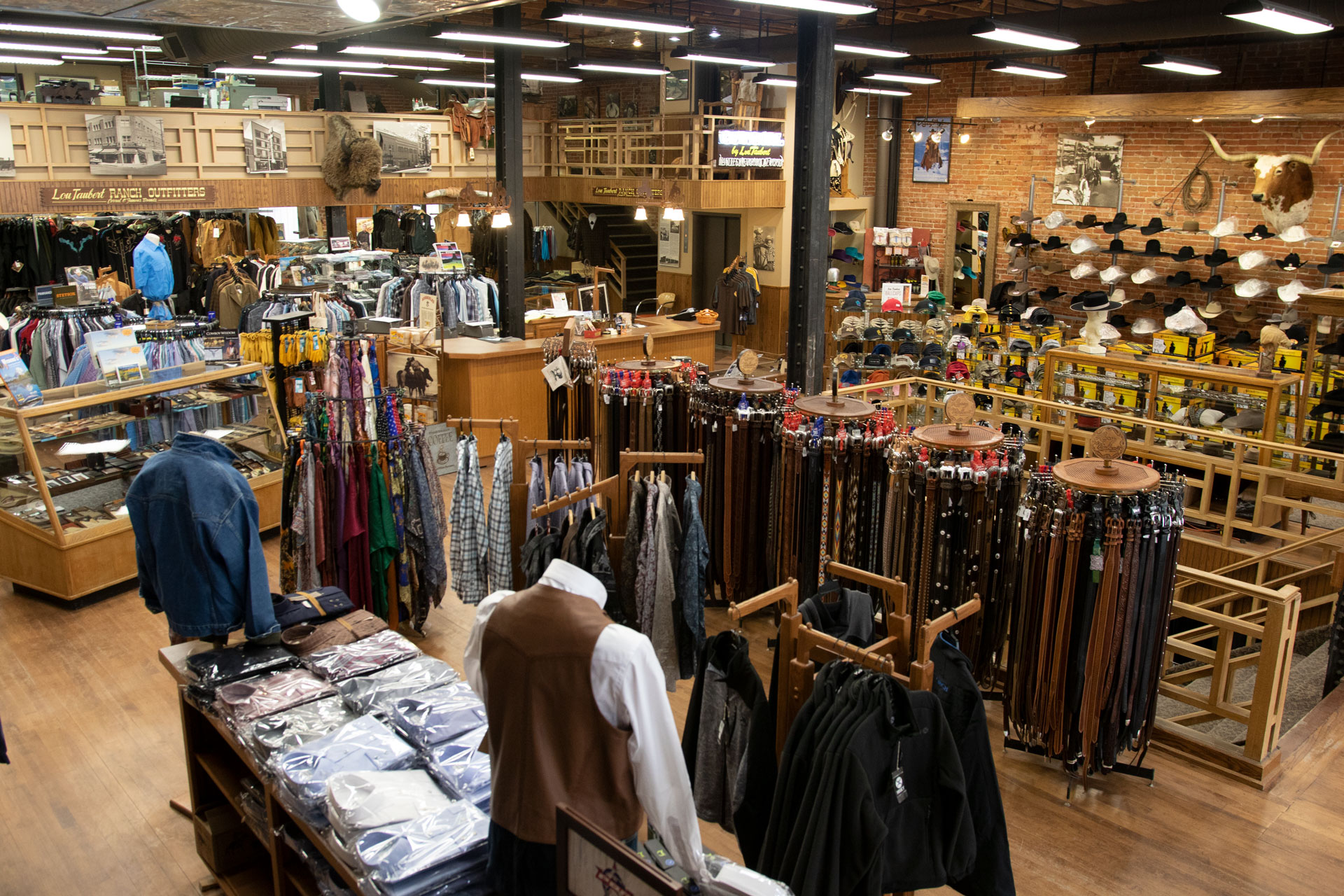 """The Main Floor"" - With high-quality felt hats, belts, men's shirts and a range of western accessories, our main floor will welcome you with an array of western eye candy, but don't stop here, we still have 8 more floors."