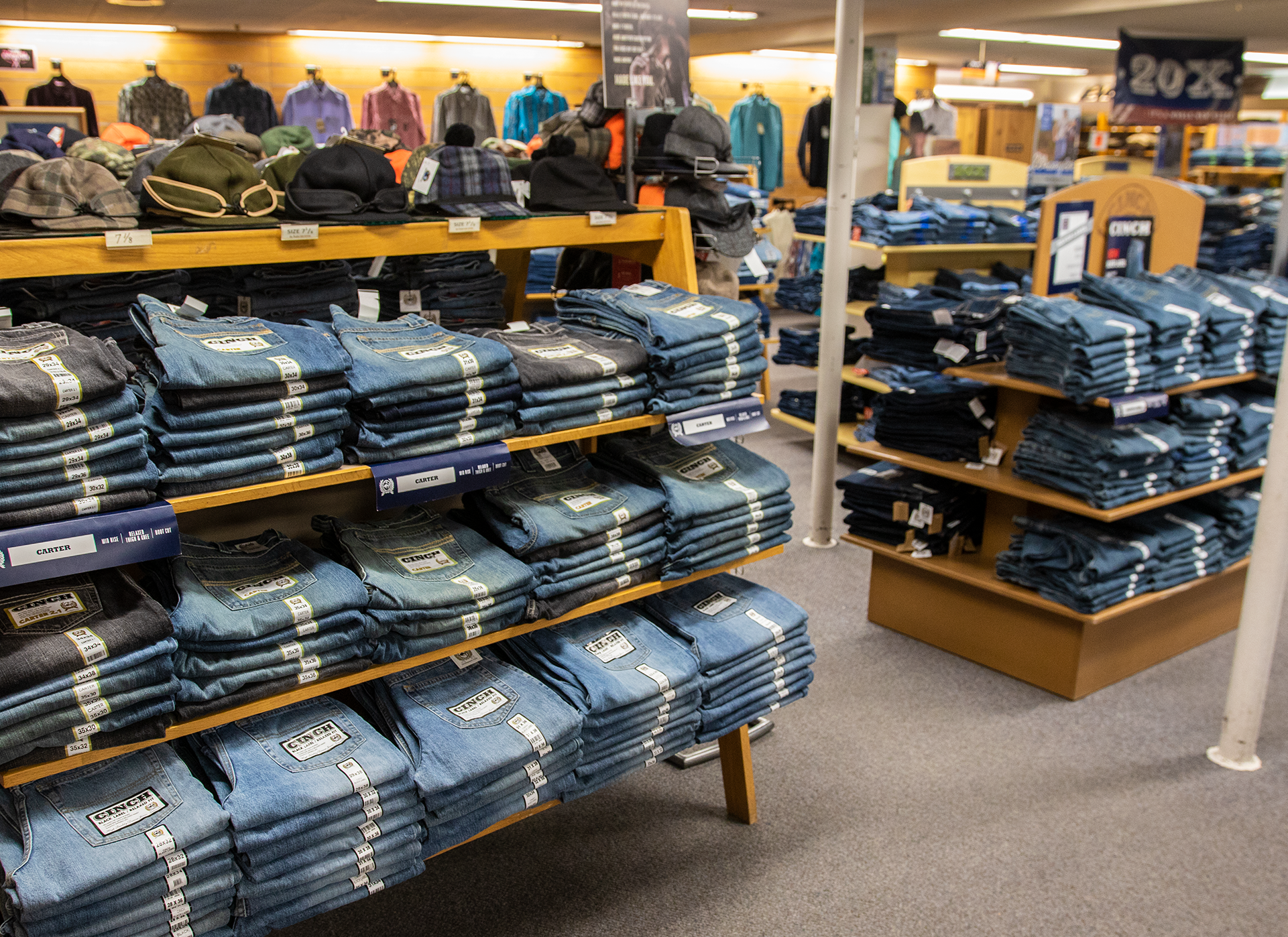 """Lou's Bottom Half"" - Workwear and denim from classic brands like Wrangler, Levi, Cinch, and Lee."