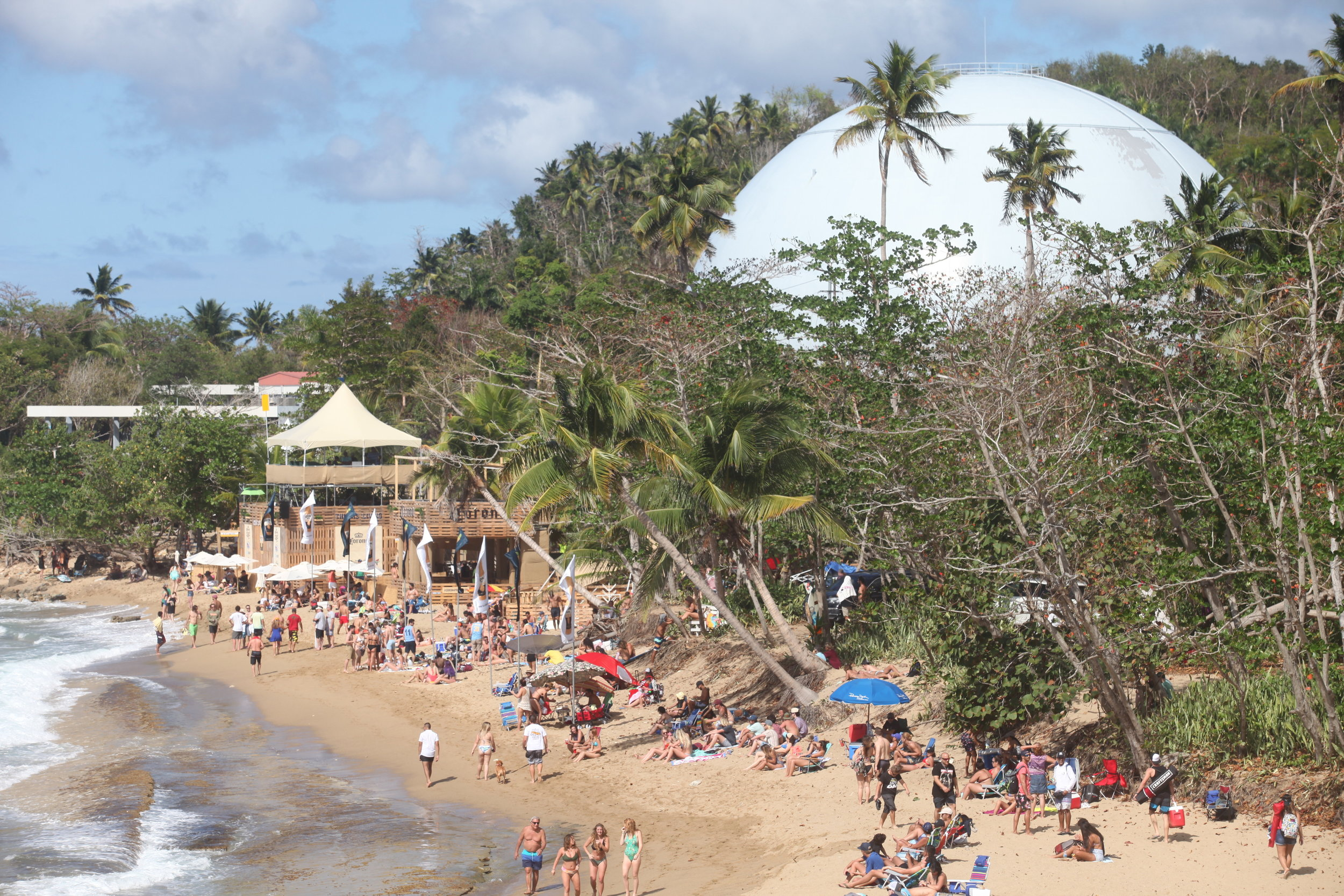Domes Beach, Rincon PR during the Corona Open Surf Competition. Just a few miles North of Coconut Palms Inn