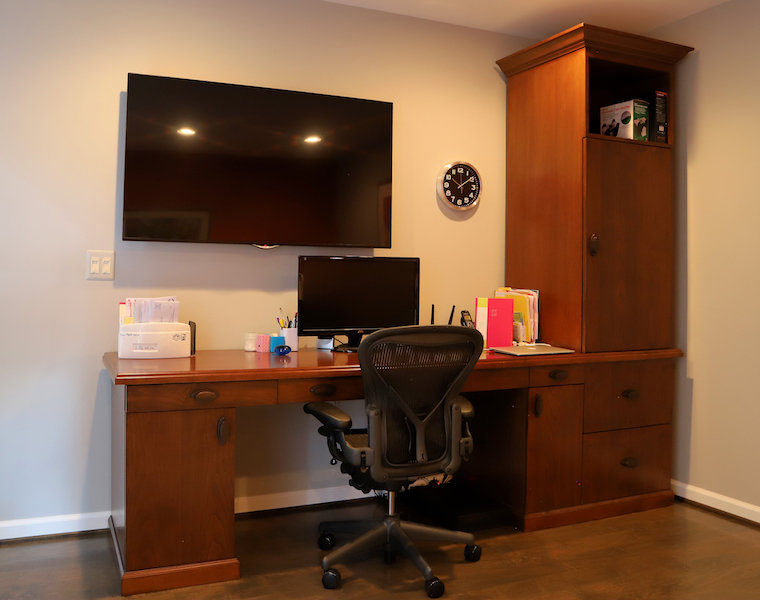 Desk area to fit into any room in your home with a clean, clutter-free look with file drawers, storage, wastebasket and office supplies all contained out of sight. Display and crown molding give it that extra oomph!