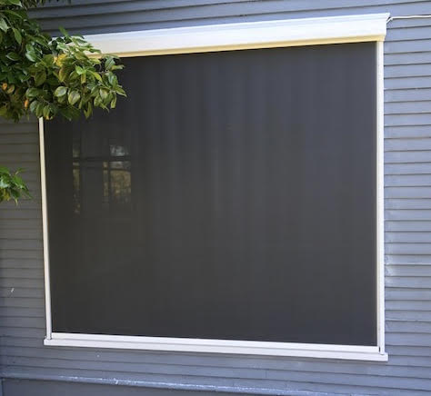 Motorized Exterior Shade with Side Tracks