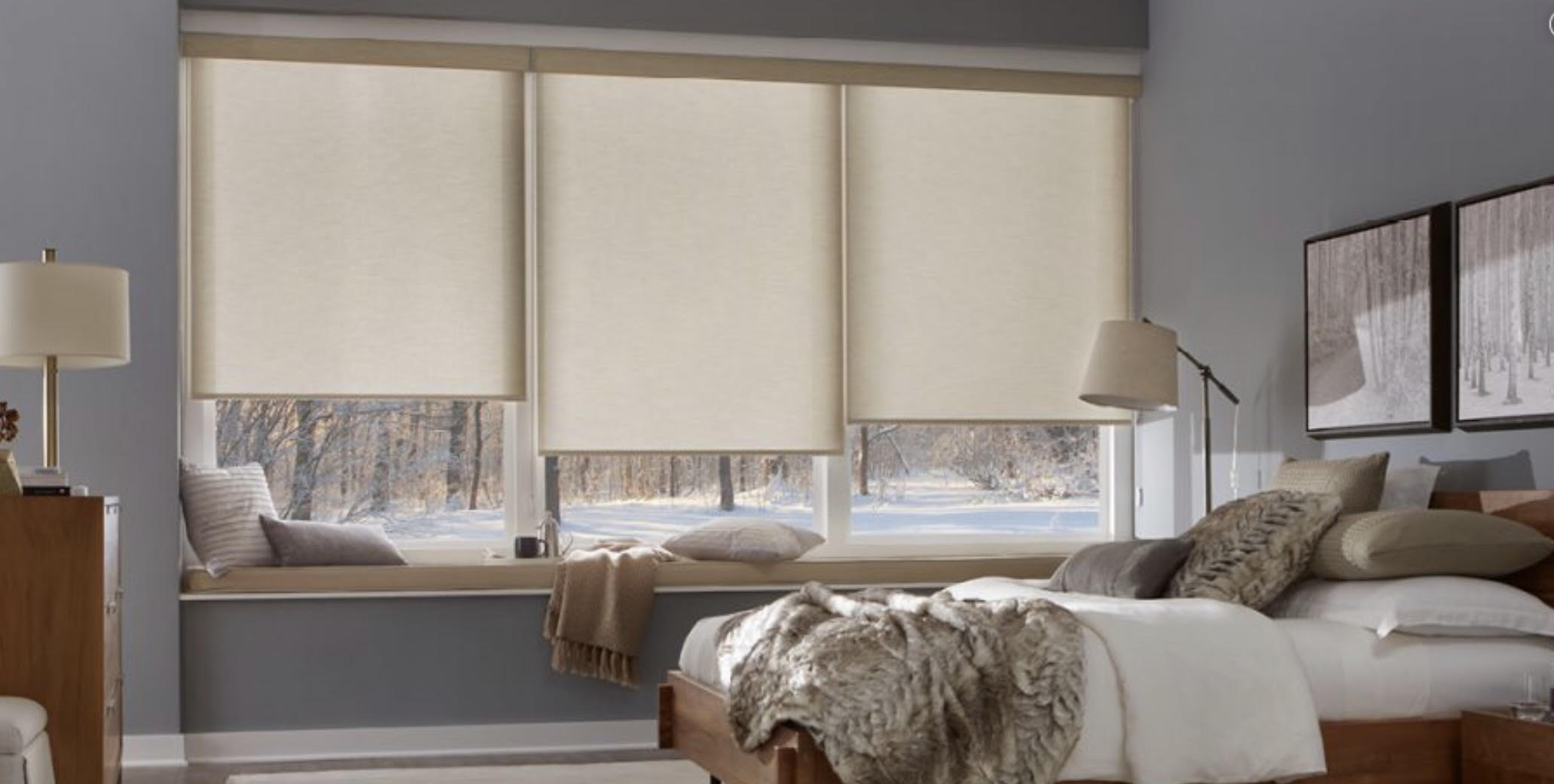 Side By Side Roller Shades - 100% Privacy