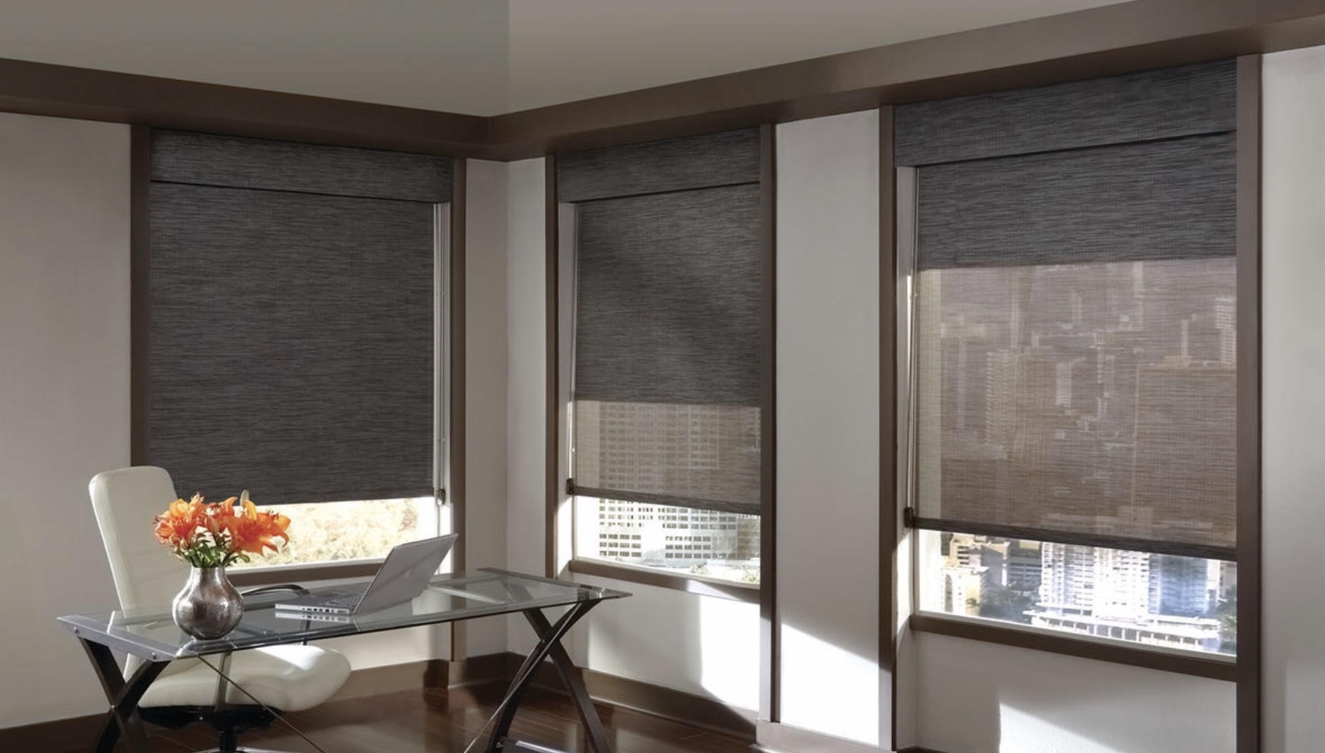 Dual Roller Shades with Fabric Wrapped Valance