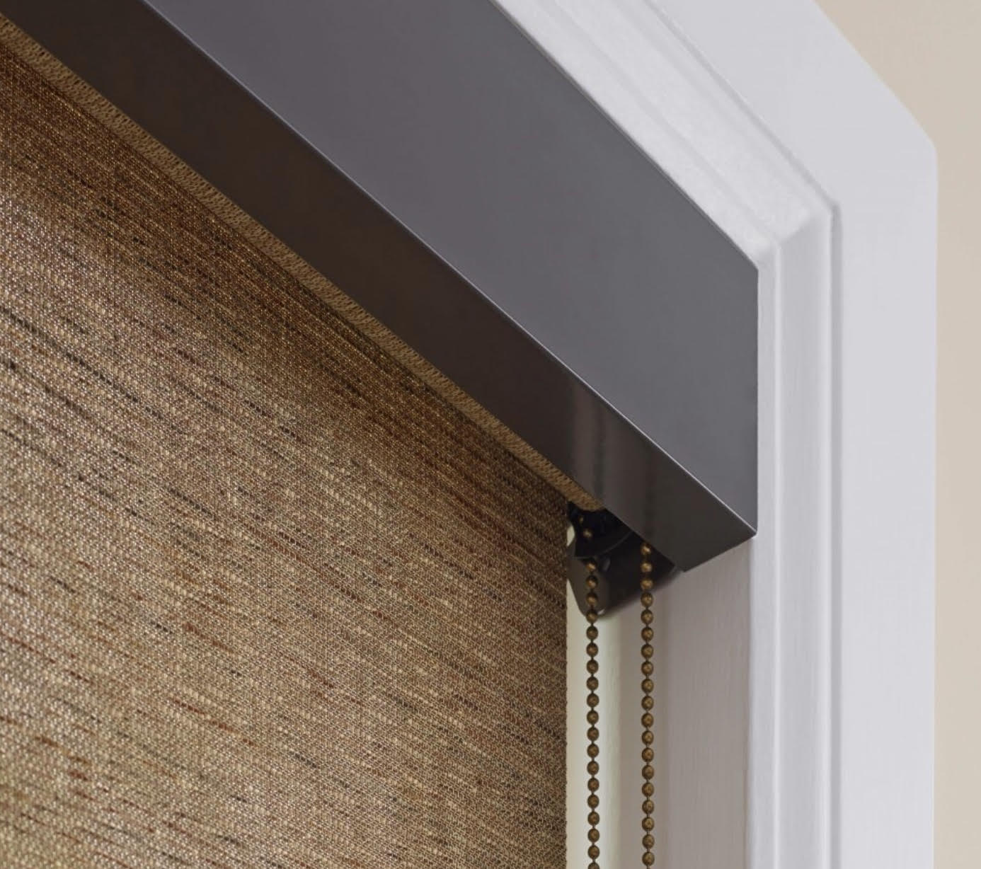 Natural Weave Roller Shade with Bronze Metal Fascia