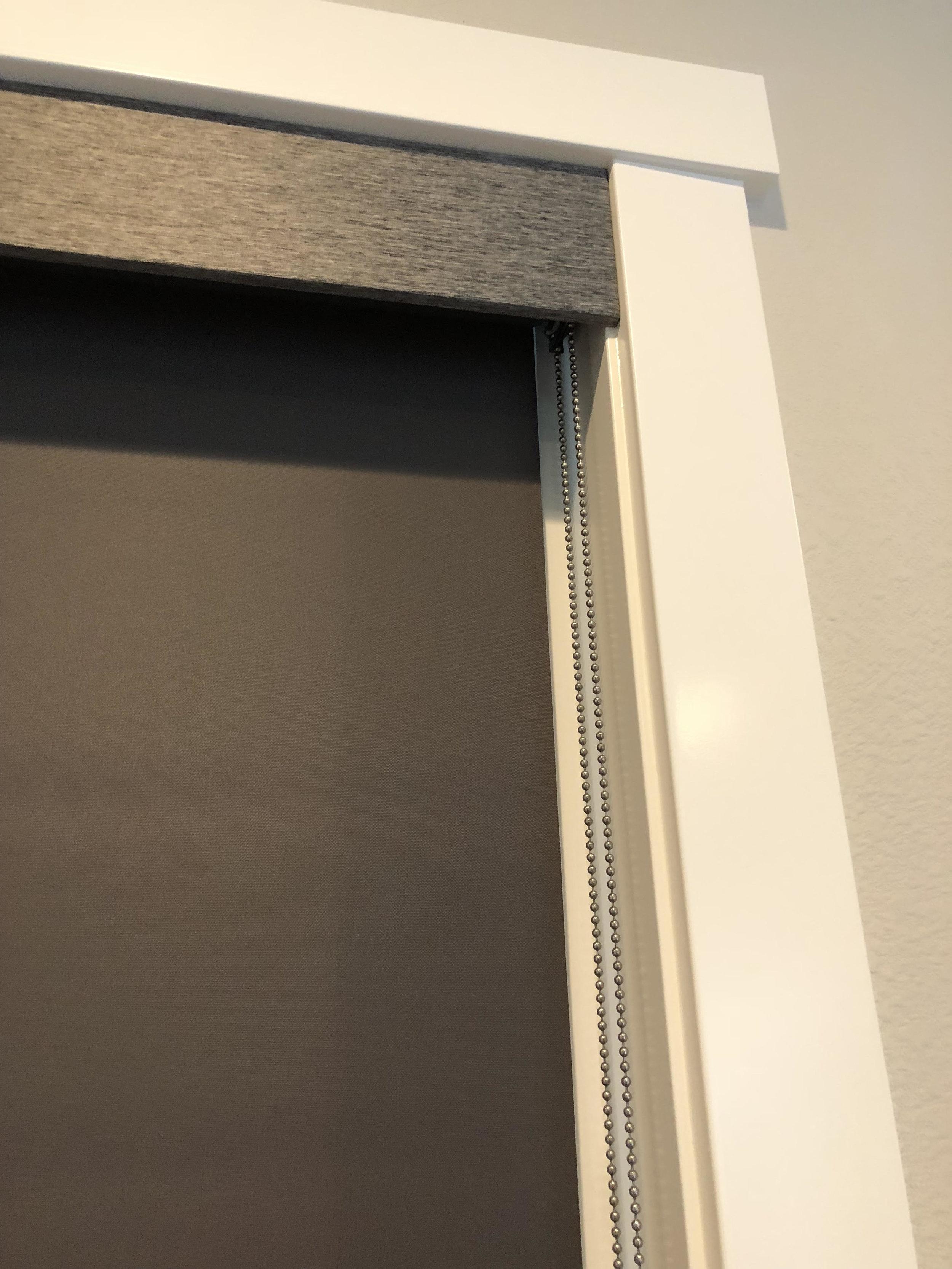 Room Darkening Roller Shade with Fabric Trim Valance