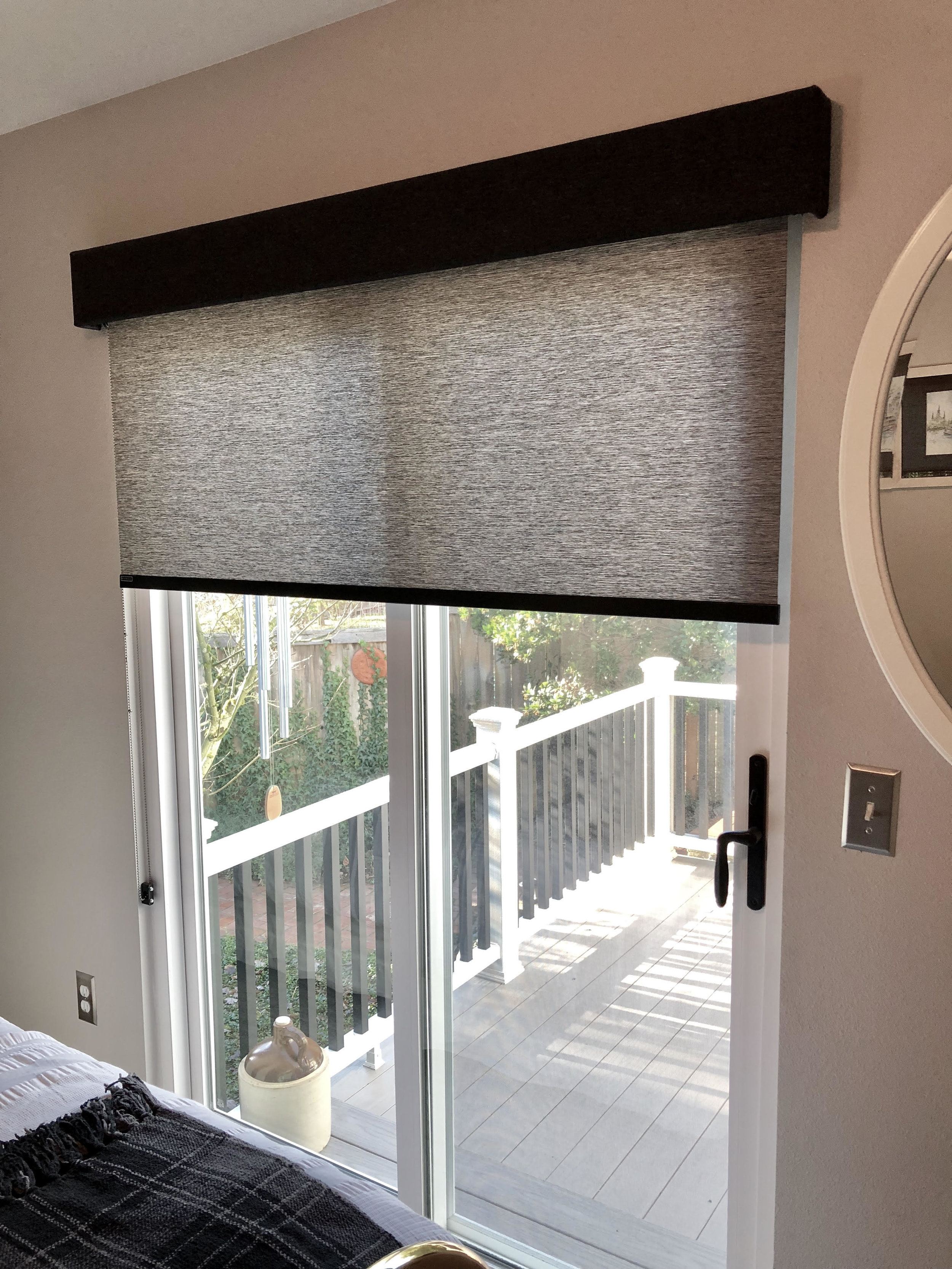 Roller Shade Fitted Over Sliding Door