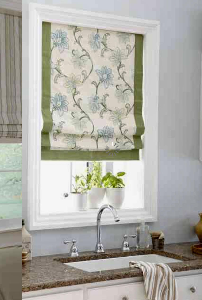 Flat Style Fabric Roman Shades With Accent Banding