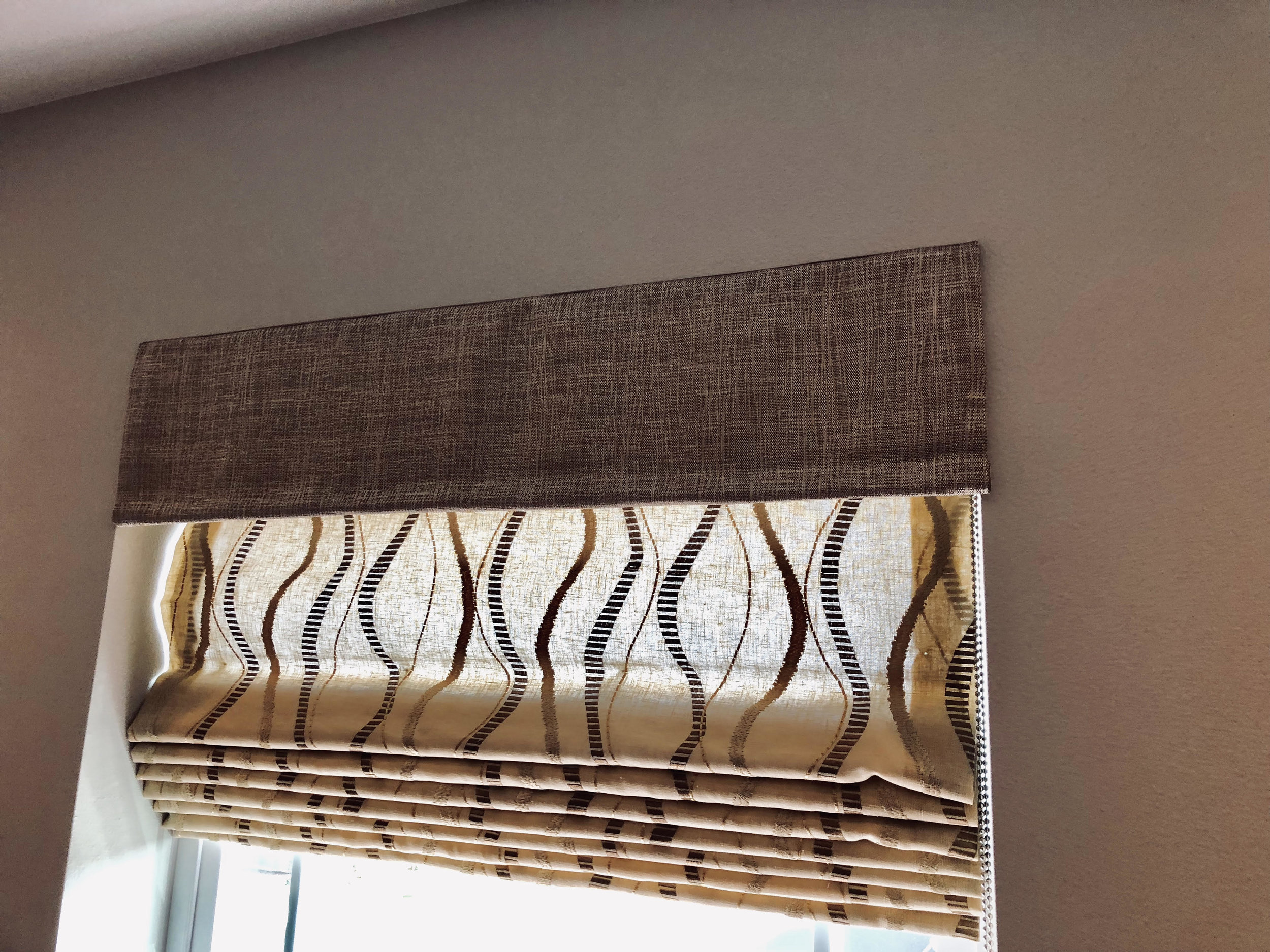 Dramatic Roman Shade with Contrasting Valance