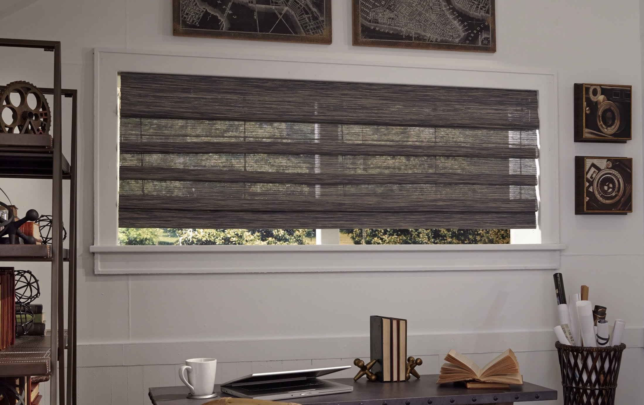 Wide Woven Roman Shade with Hobbled Design