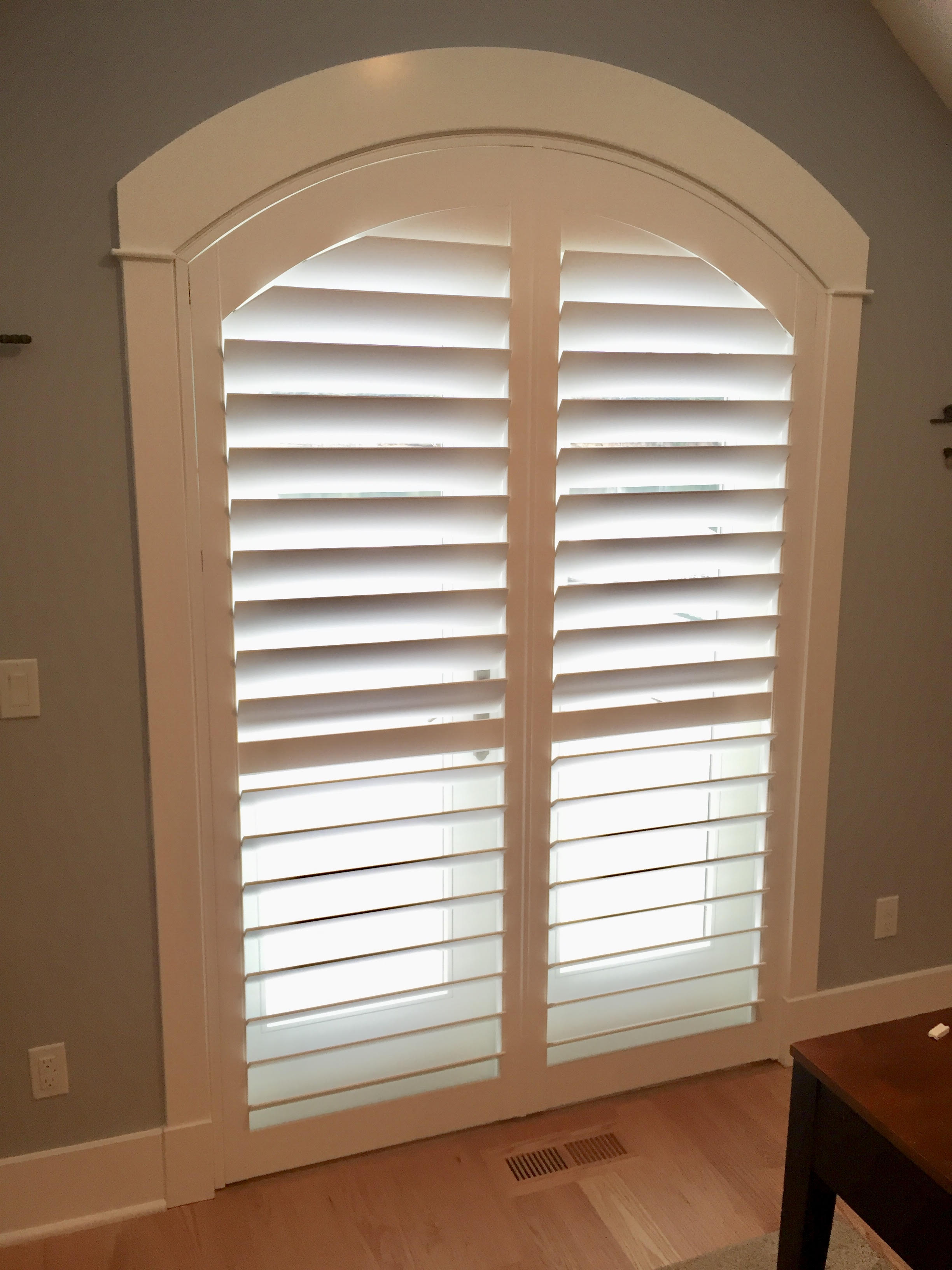 """Custom Arch Shutters with 4 1/2"""" Louvers"""