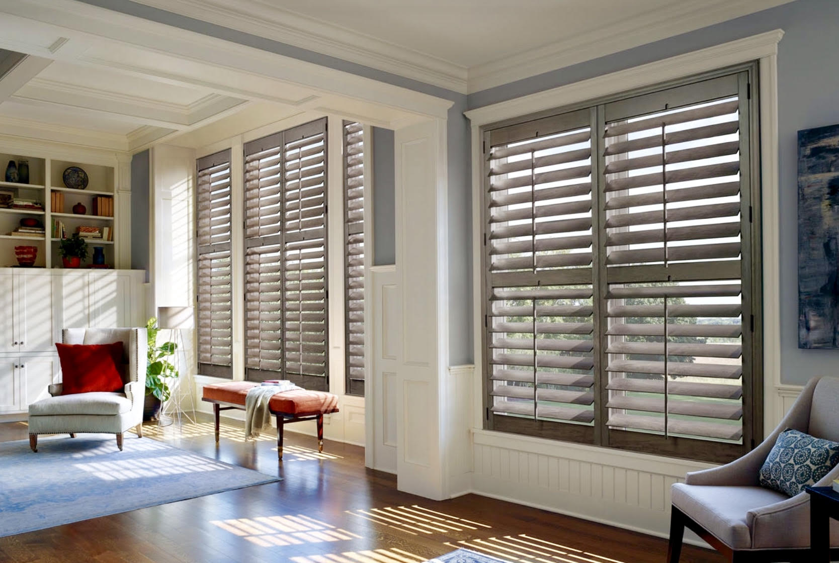 """Wide Panel Norman Traditional 3 1/2"""" Wood Shutters"""