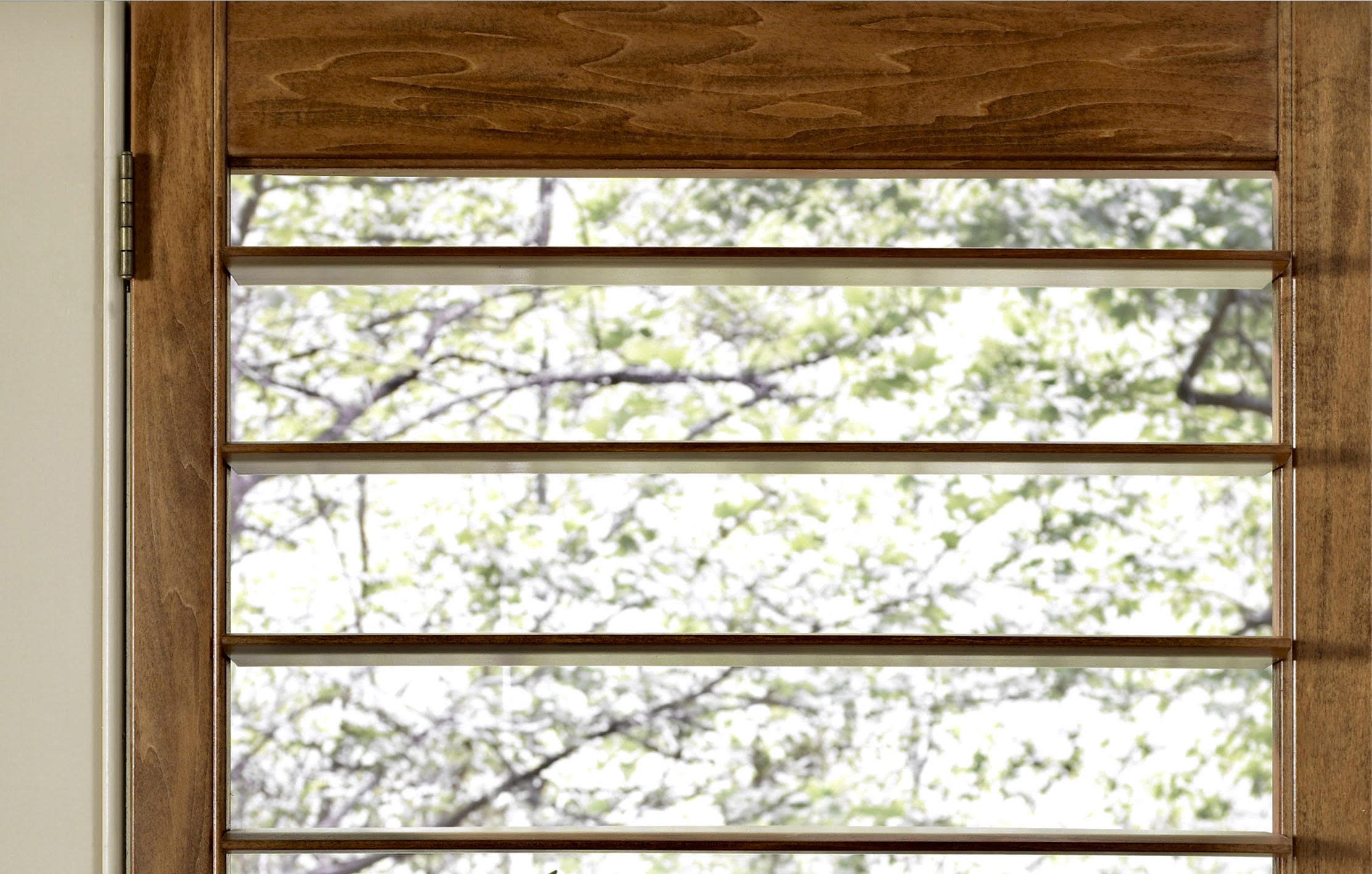 """Norman Wood Shutter Showing Open View with 4 1/2"""" Louvers"""