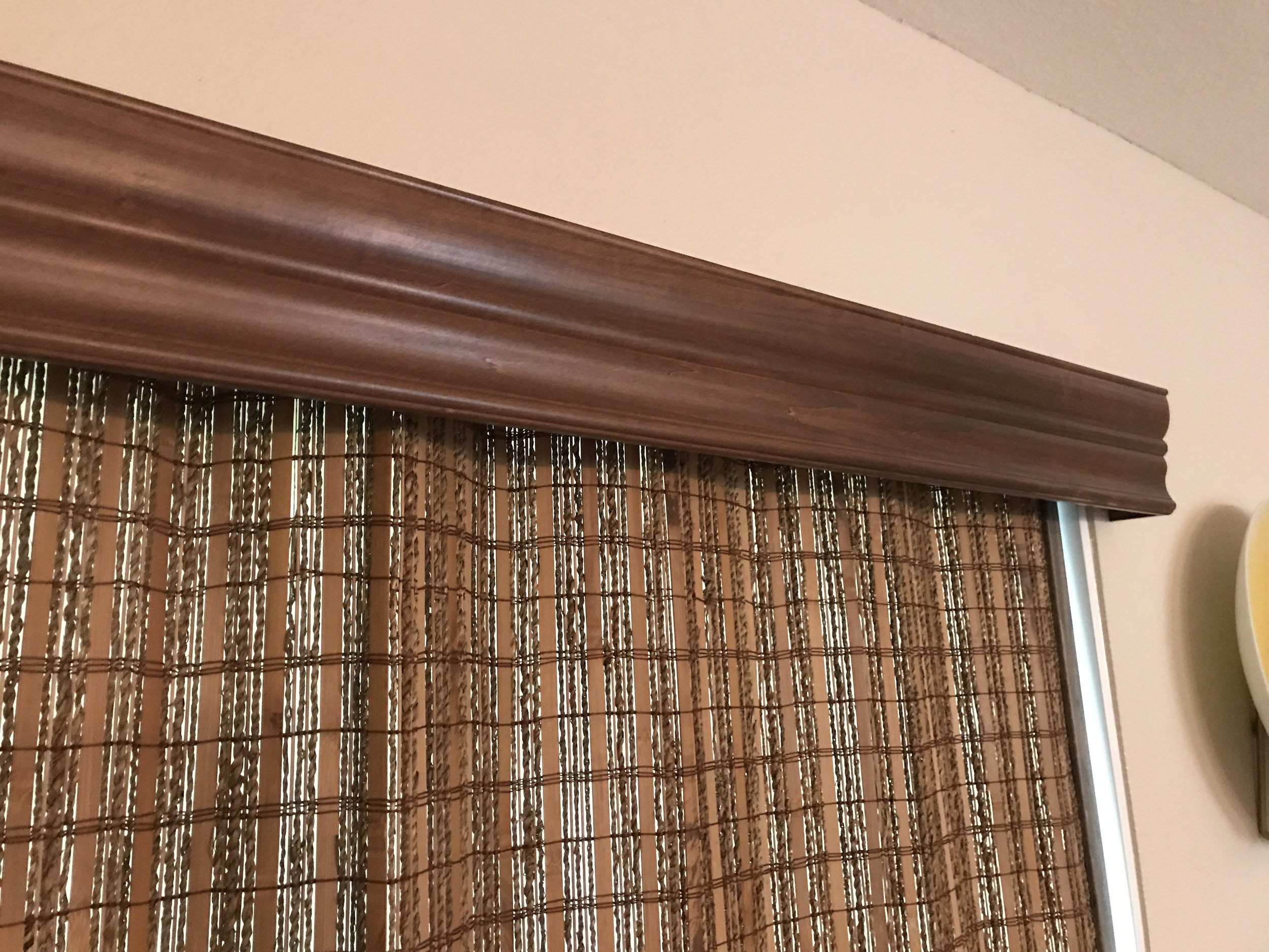 Custom Crowne Valance Over Woven Drapery