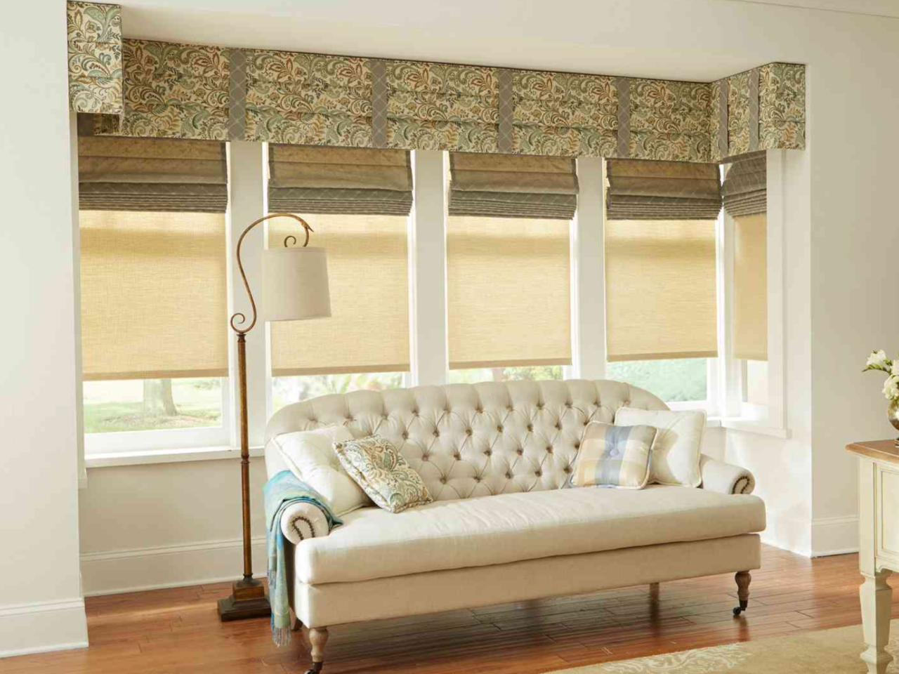 Pleated Drapery Cornice with Layered Shades