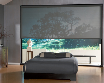 Large Motorized Roller Shade with Designer Screen Material