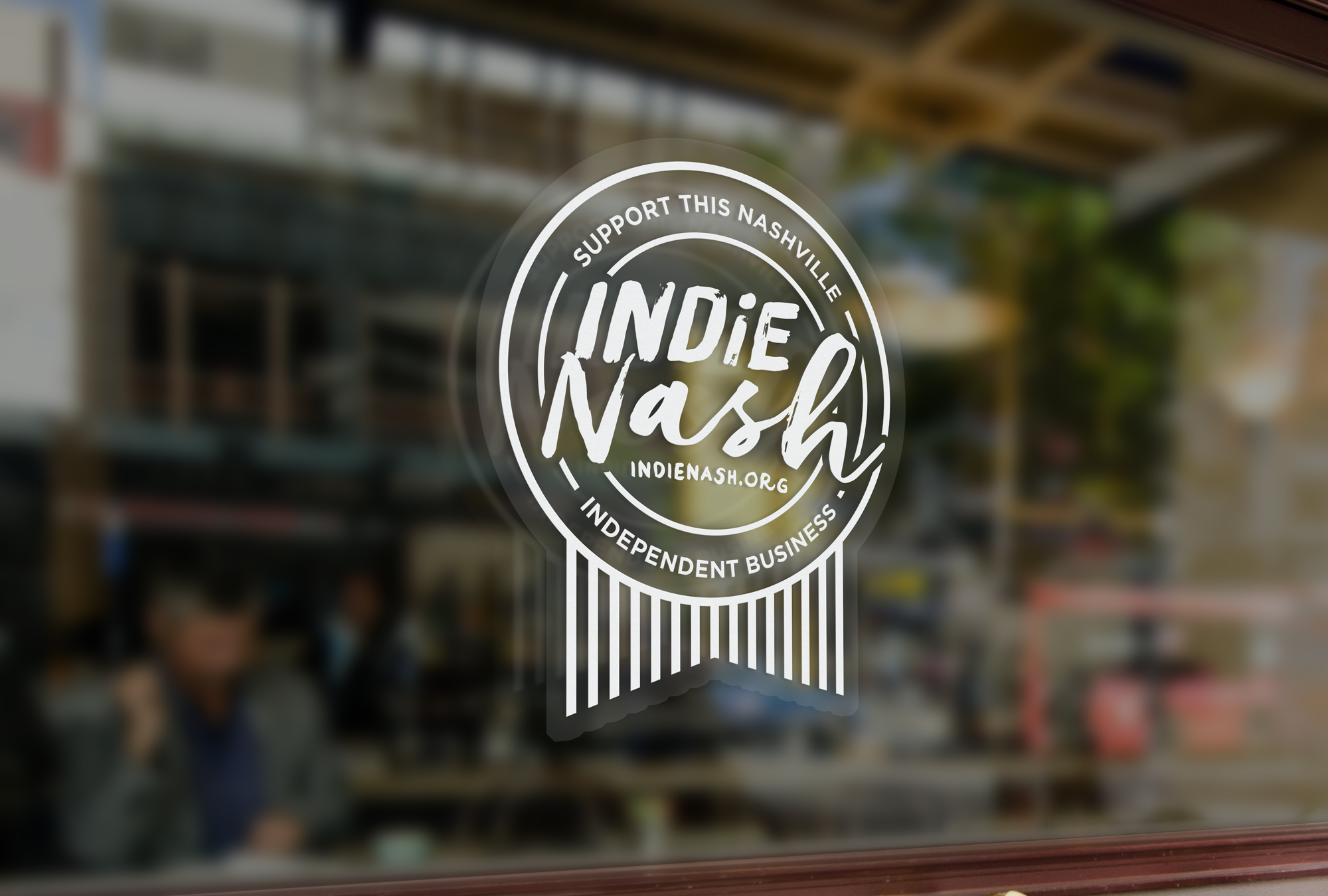 "The IndieNash ""Seal of Approval"" - You can find these clinging to the doors and windows of some of Nashville's independent businesses."