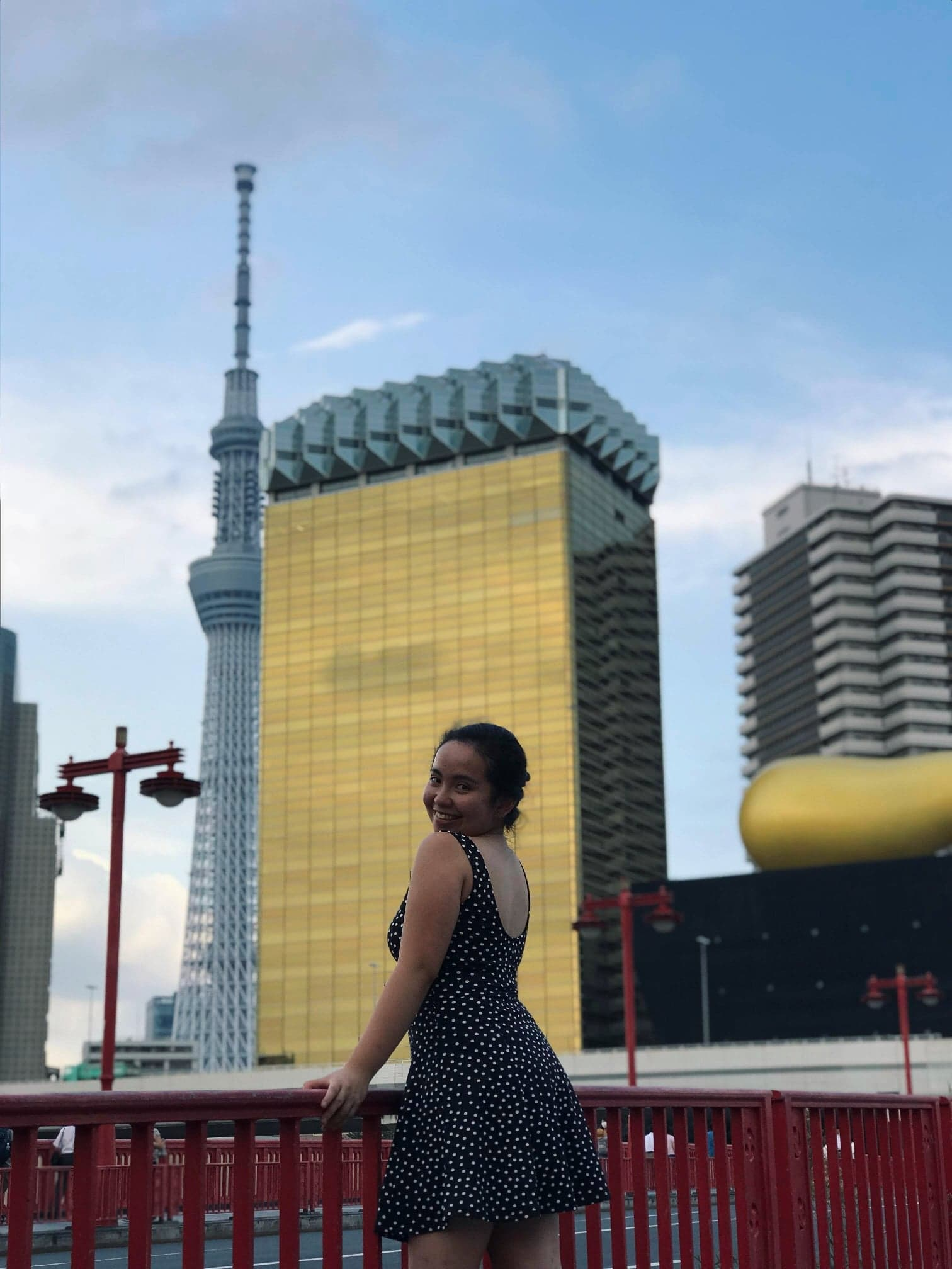 Before leaving Asakusa … - Have a quick photo shoot in the nearby bridge overlooking the Tokyo Skytree and the ASAHI building (Asahi beer)!