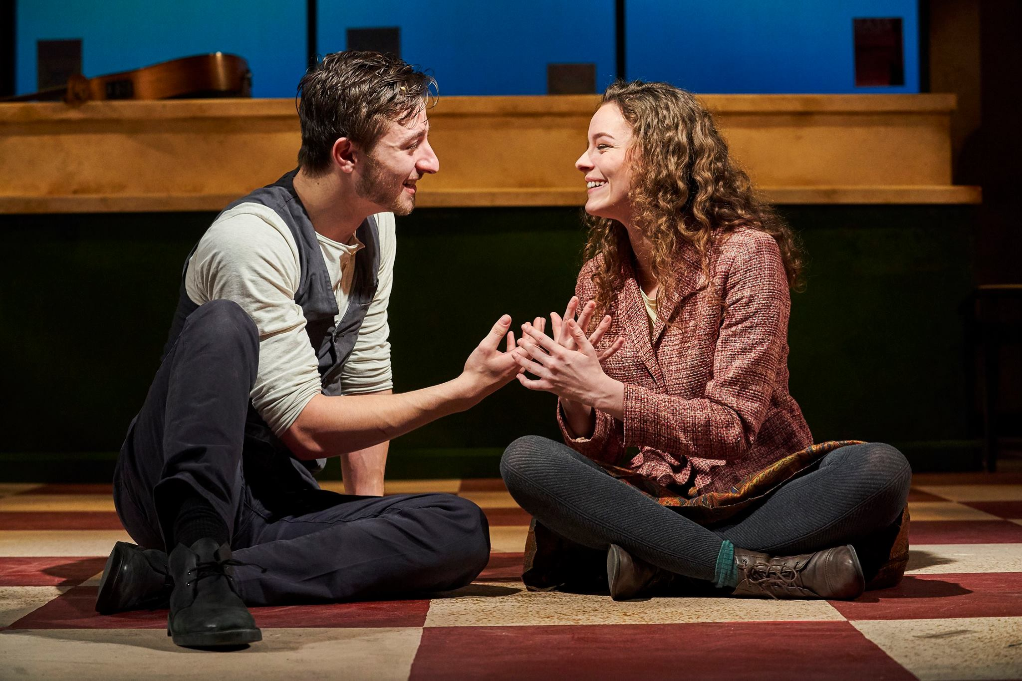 Julie Gilliland - Jake Slater (Guy) seated with Kelsey Brown (Girl) in Once. Photo Credit by Roger Mastrioanni.jpg