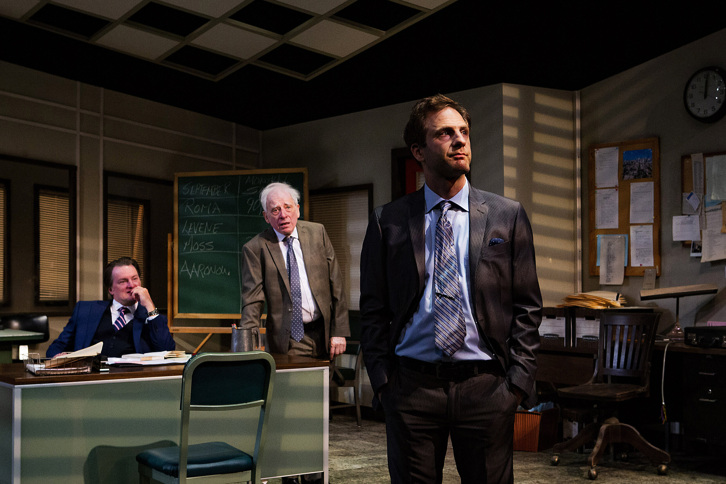 L to R: Christopher M. Bohan (Richard Roma), Austin Pendleton (Shelly Levene), Andrew Gorell (John Williamson)