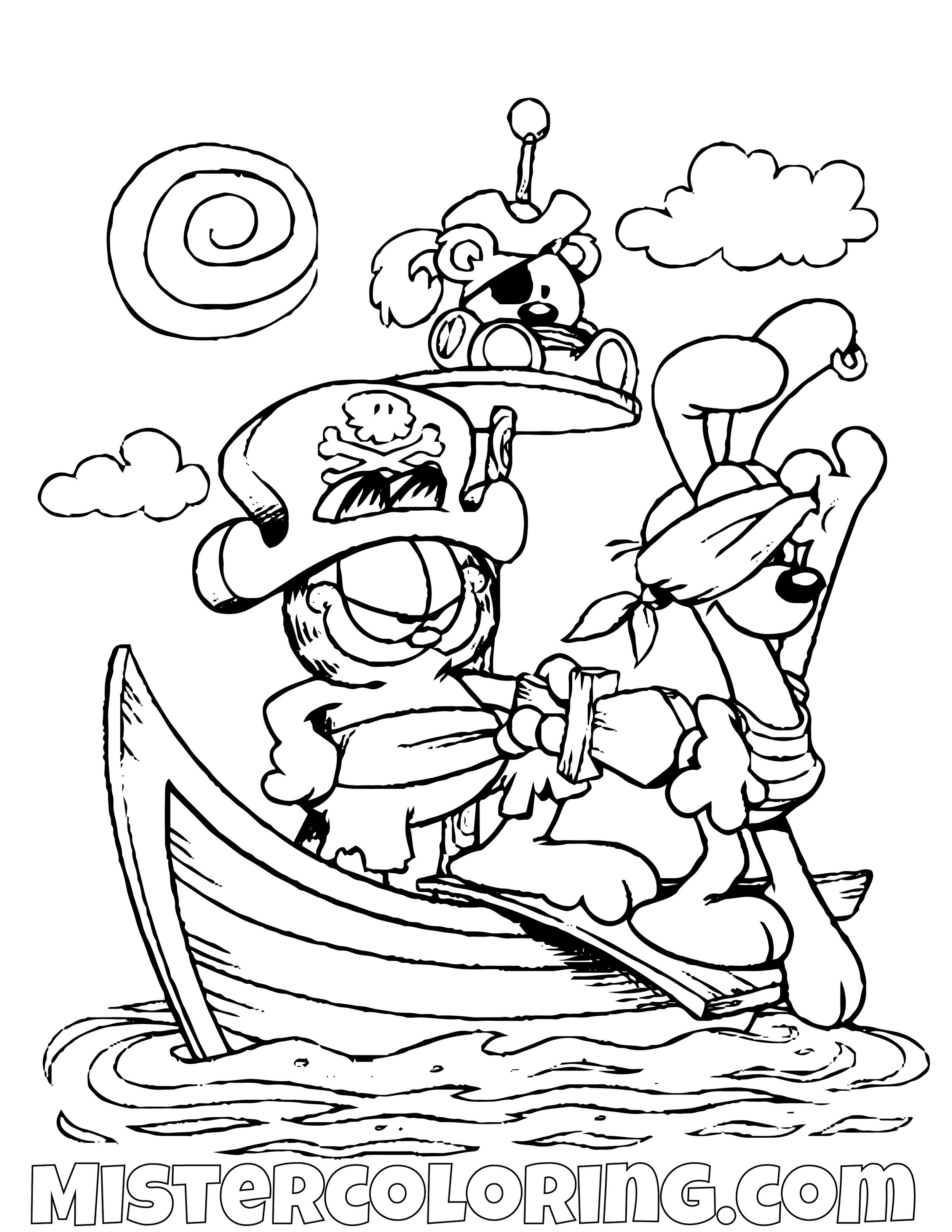 Garfield And Odie As Pirates Coloring Page