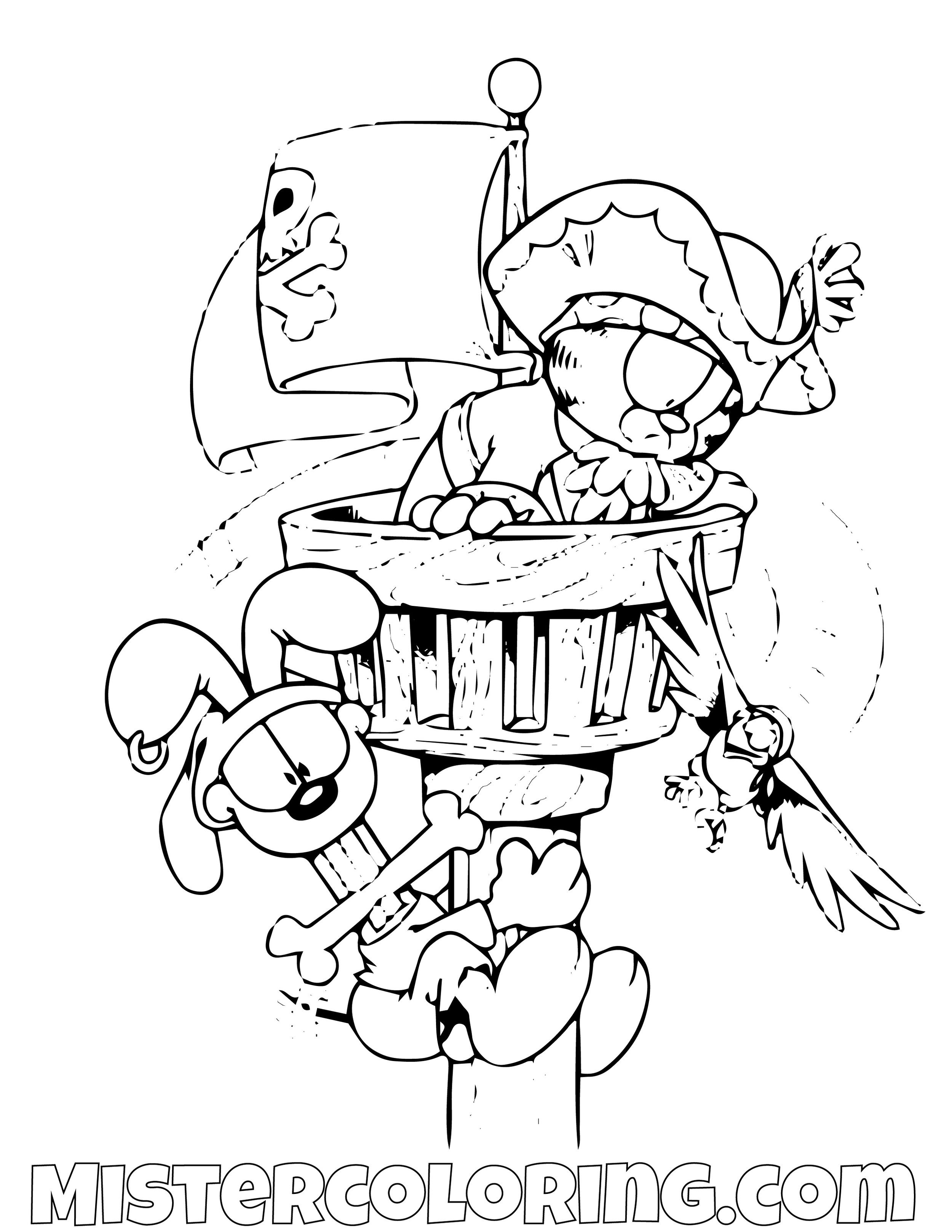 Garfield And Odie As Pirates On Top Coloring Page