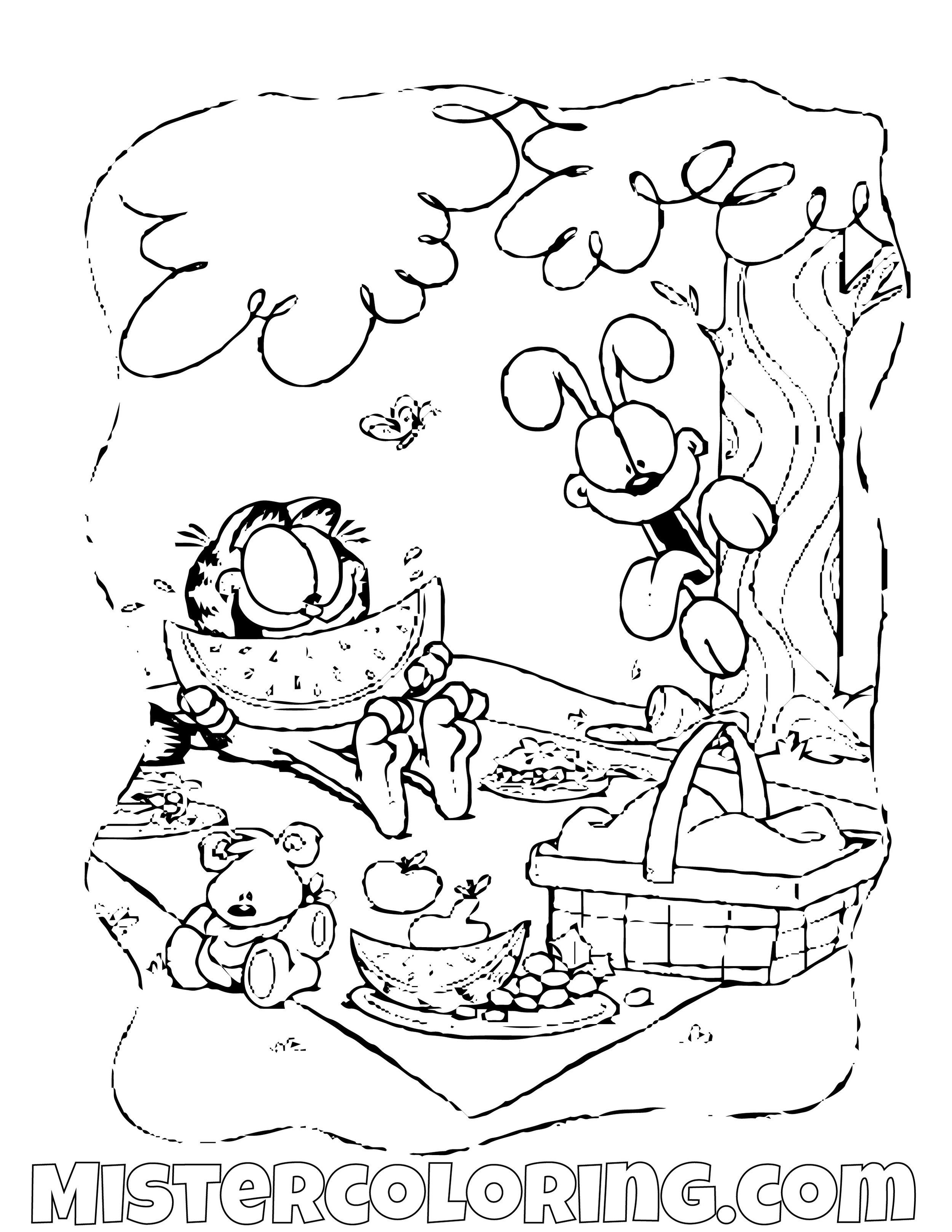 Garfield And Odie At The Beach Coloring Page
