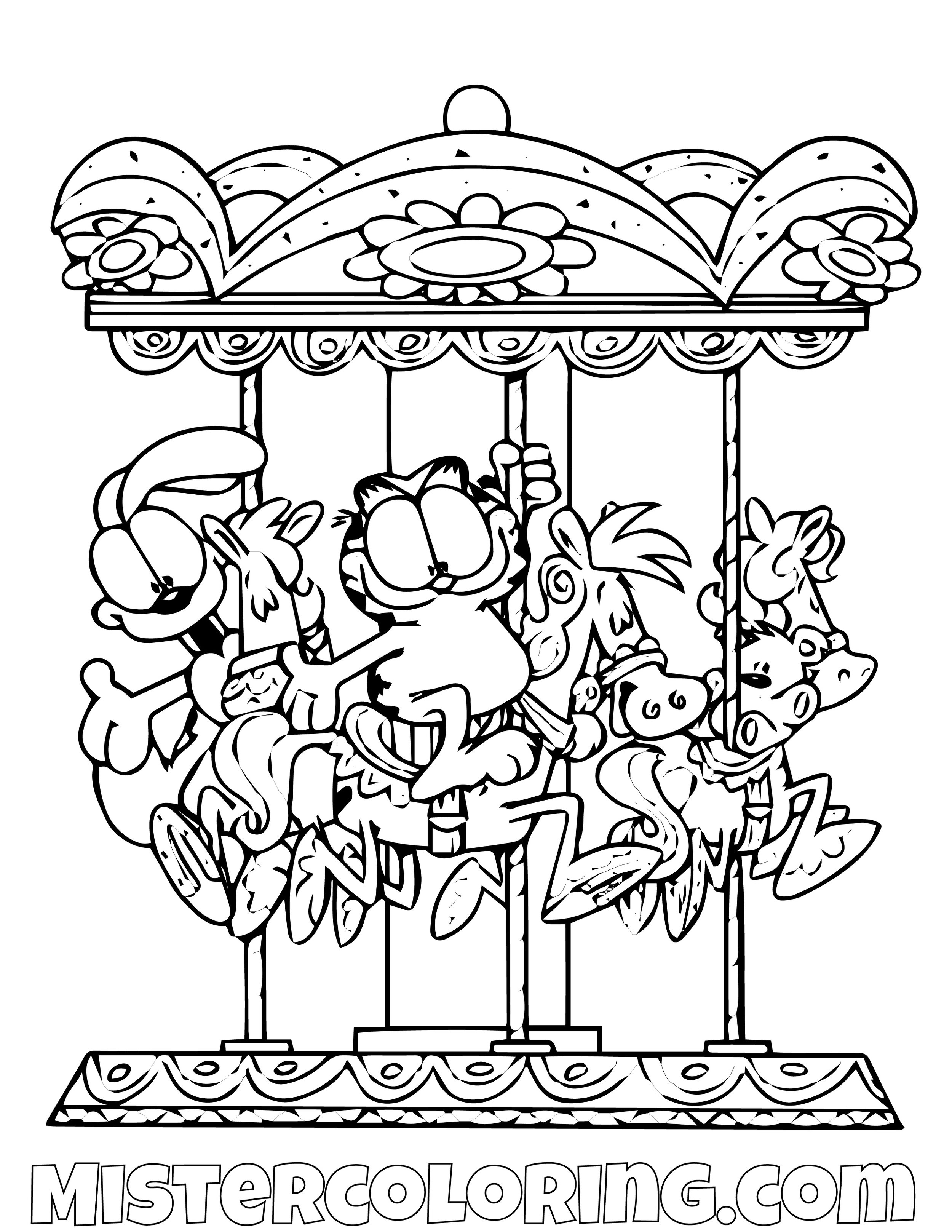 Garfield And Odie In A Carousel Coloring Page