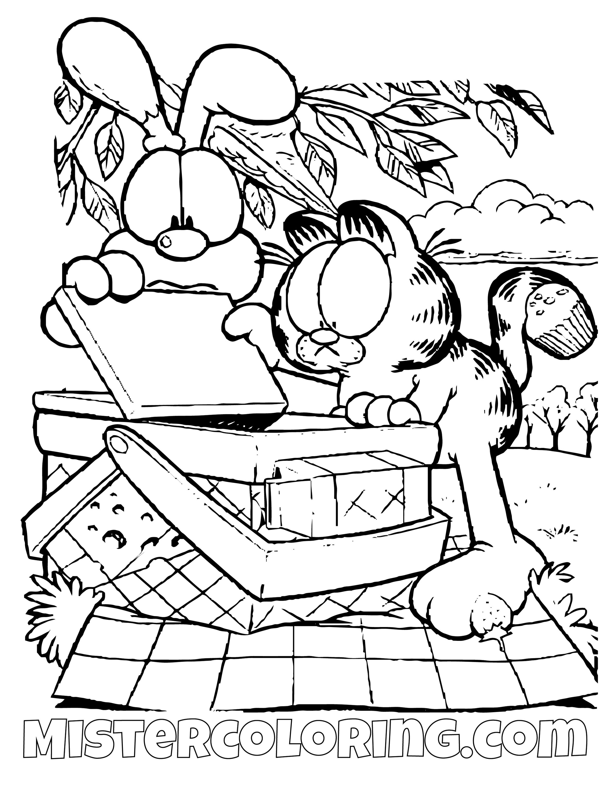 Garfield And Odie Looking Into A Picnic Basket Coloring Page
