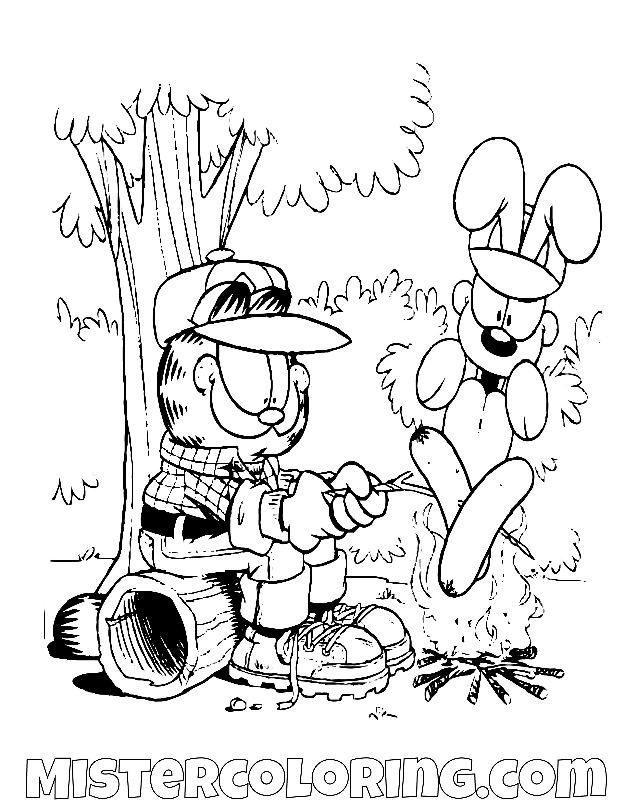 Garfield And Odie Roasting A Sausage Coloring Page