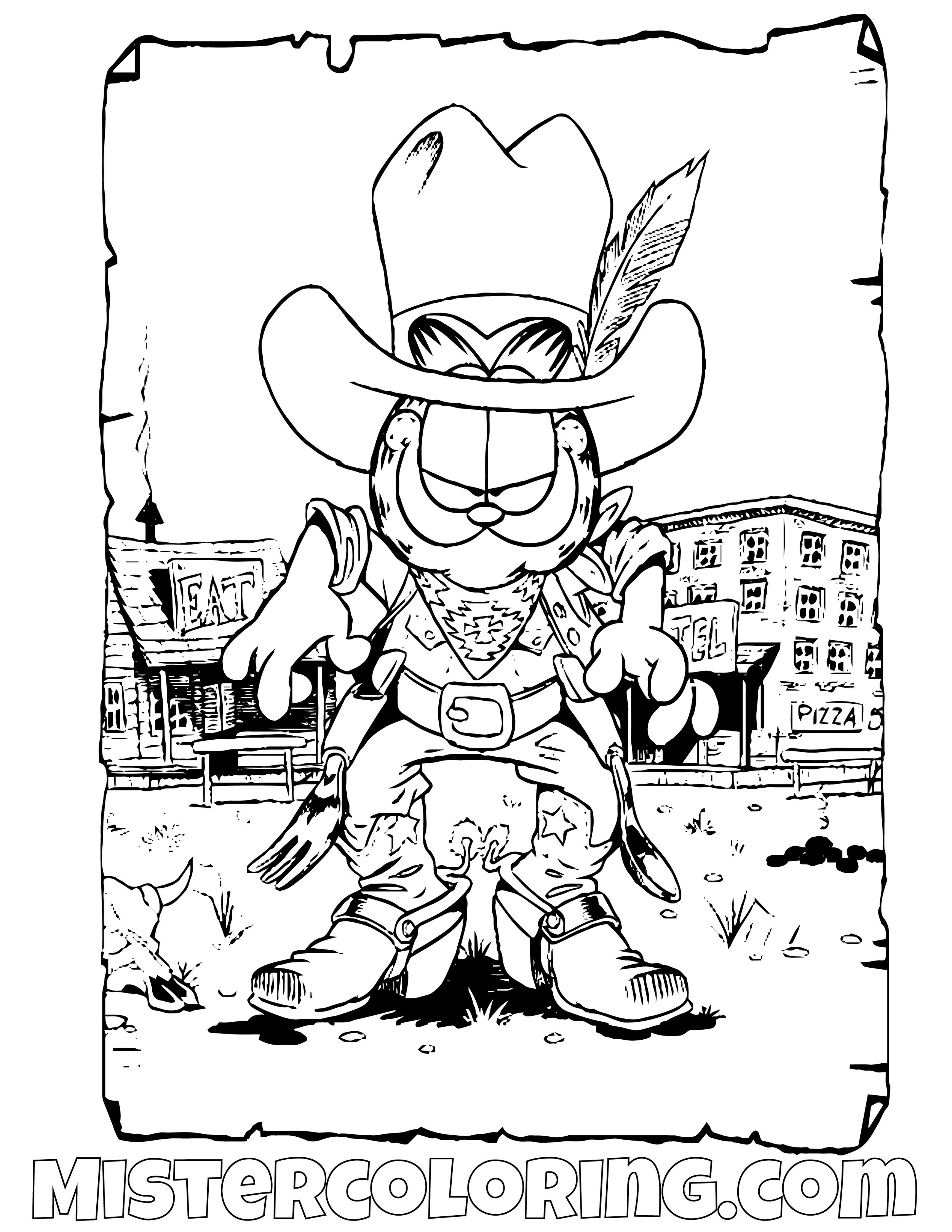 Garfield As A Cowboy Coloring Page