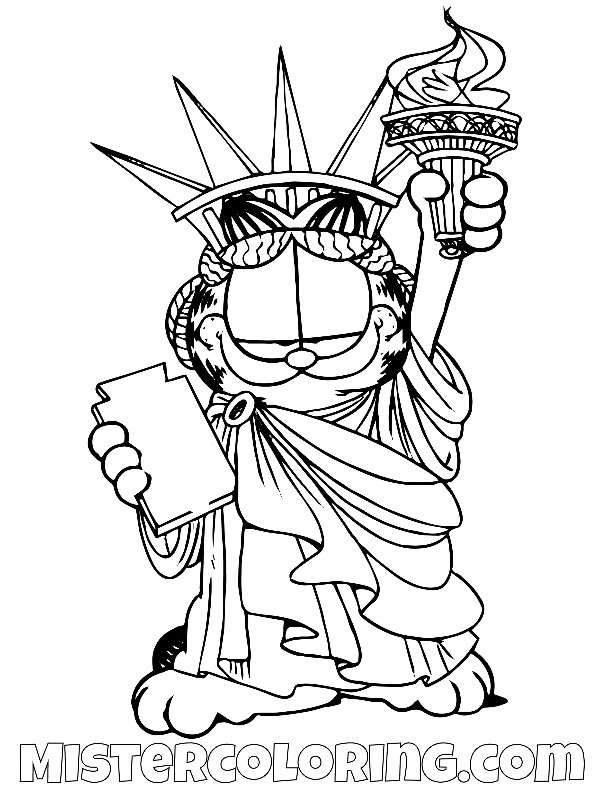 Garfield As The Liberty Statue Coloring Page