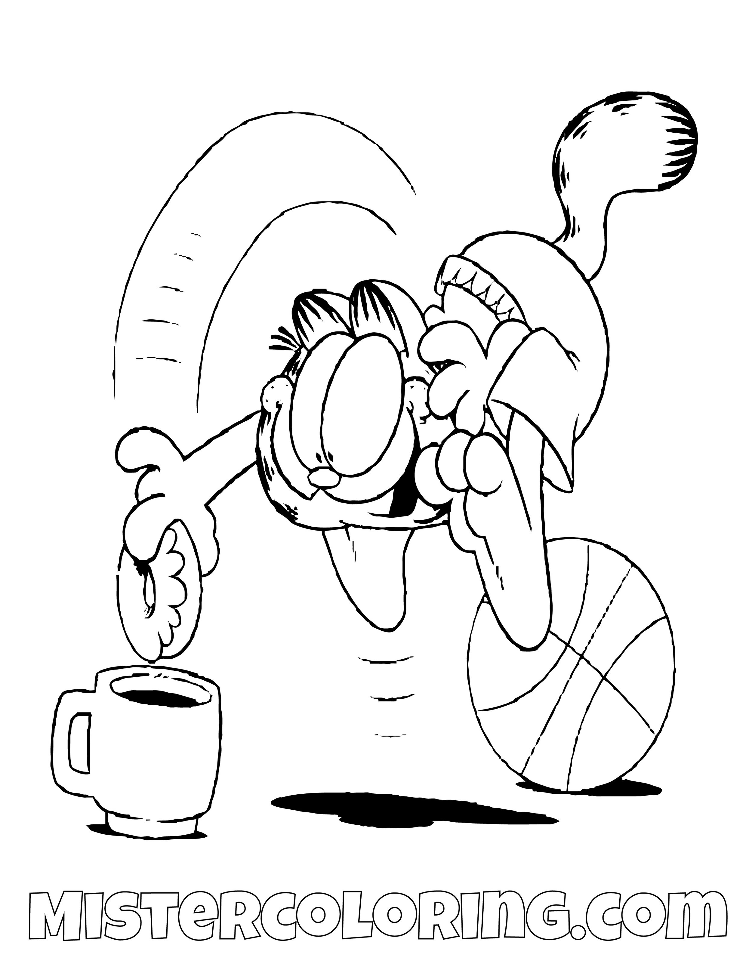 Garfield Dipping A Donut Coloring Page